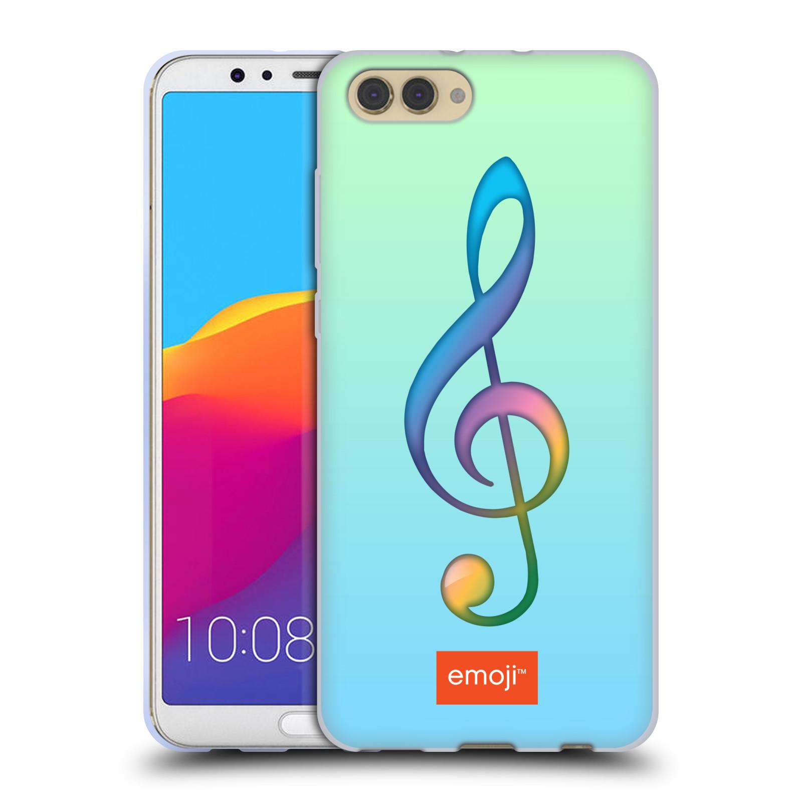 HEAD CASE silikonový obal na mobil Huawei HONOR VIEW 10 / V10 smajlík oficiální kryt EMOJI hudba notový klíč