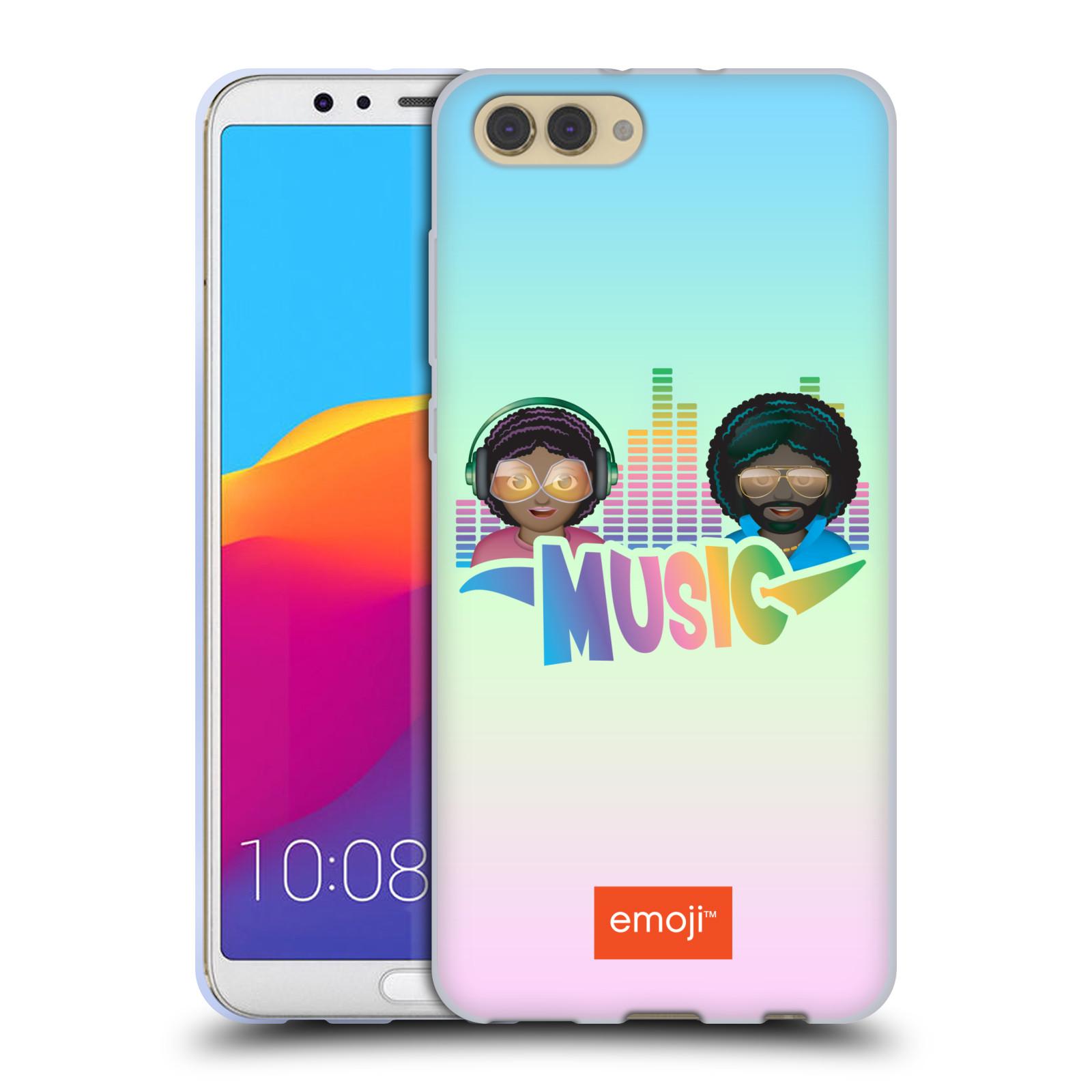 HEAD CASE silikonový obal na mobil Huawei HONOR VIEW 10 / V10 smajlík oficiální kryt EMOJI hudba ekvalizér