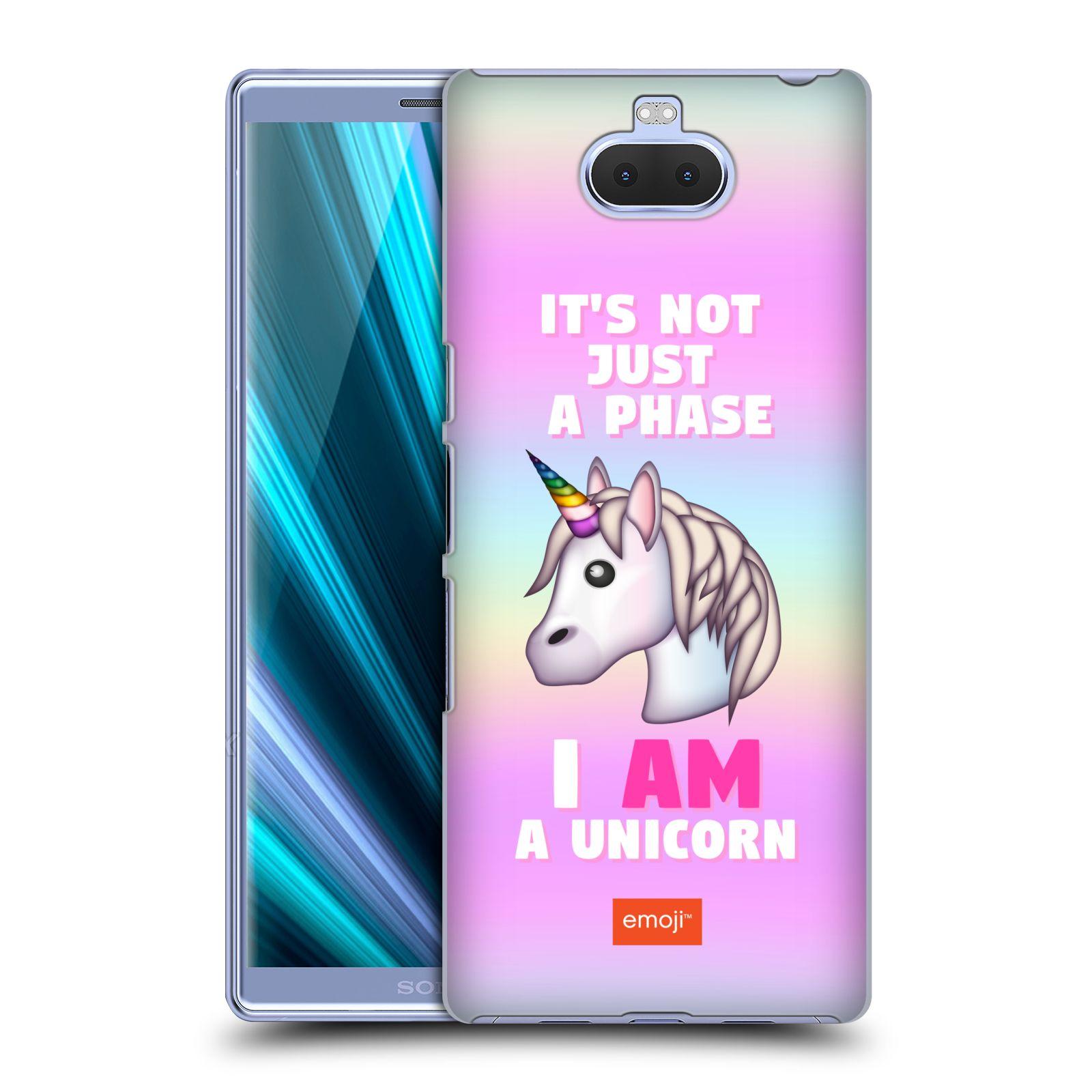 Pouzdro na mobil Sony Xperia 10 Plus - Head Case - smajlíci oficiální kryt EMOJI vzor jednorožec růžová I AM UNICORN