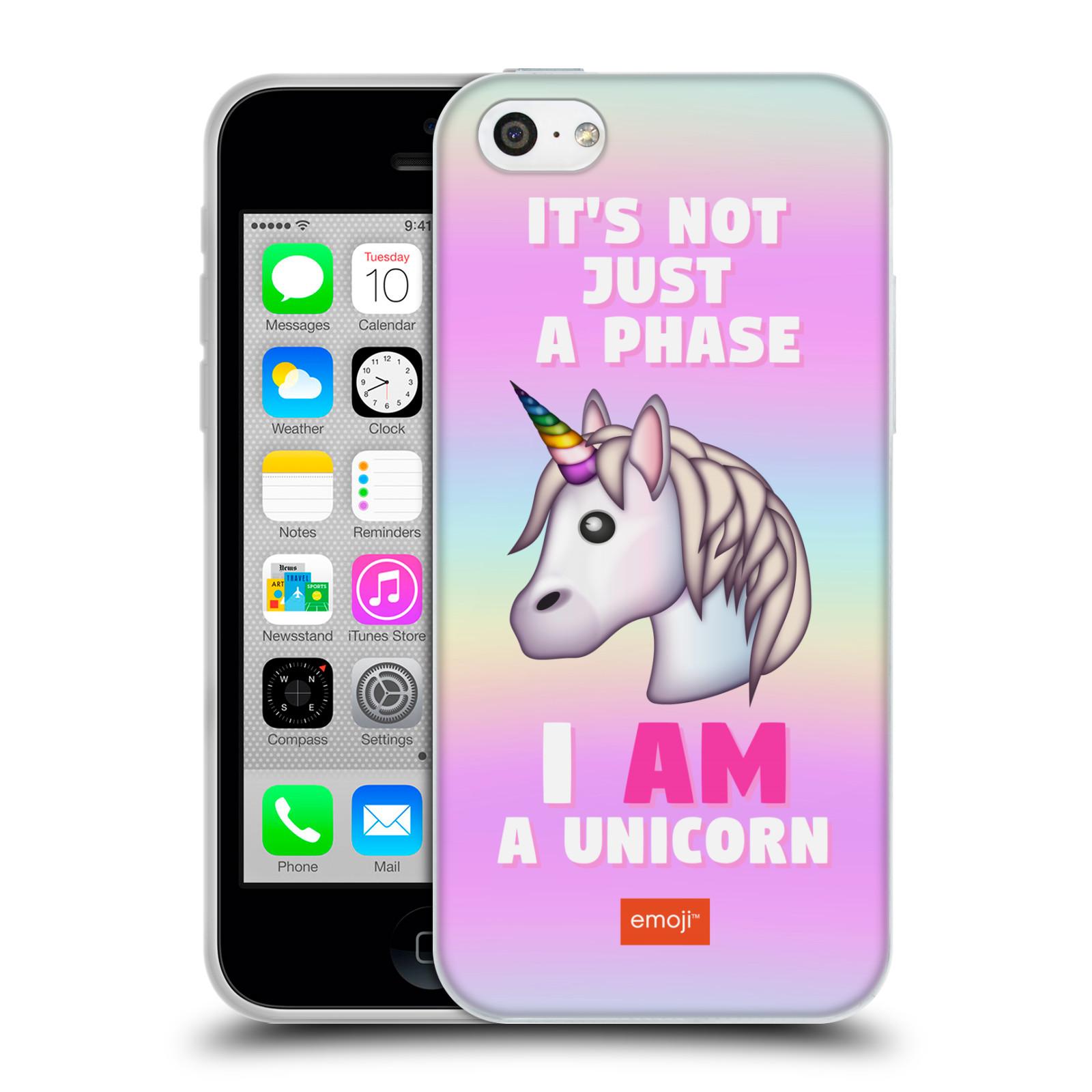 HEAD CASE silikonový obal na mobil Apple Iphone 5C smajlíci oficiální kryt  EMOJI vzor jednorožec růžová I AM UNICORN b42a8eedbd8