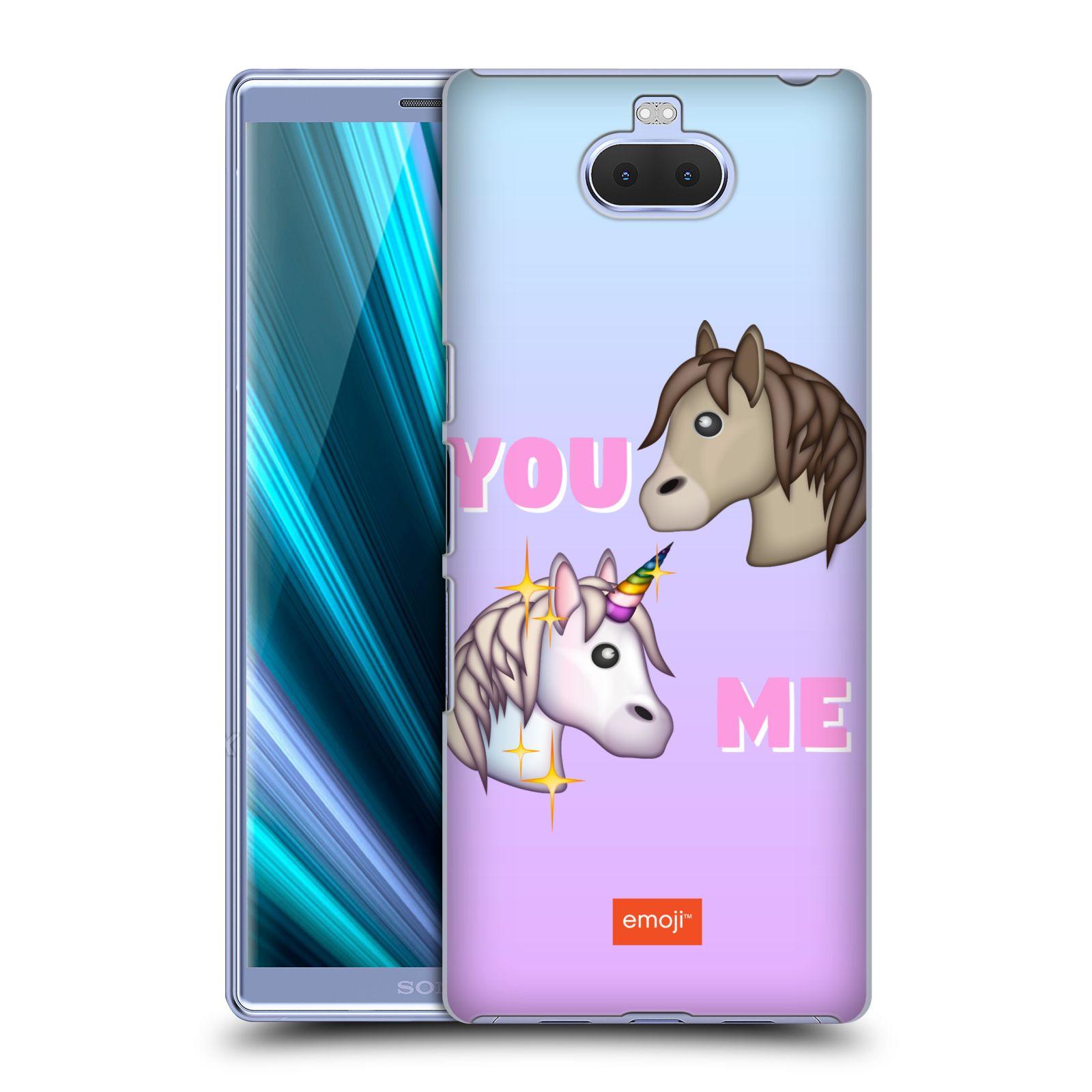 Pouzdro na mobil Sony Xperia 10 Plus - Head Case - smajlíci oficiální kryt EMOJI vzor dva jednorožci YOU and ME