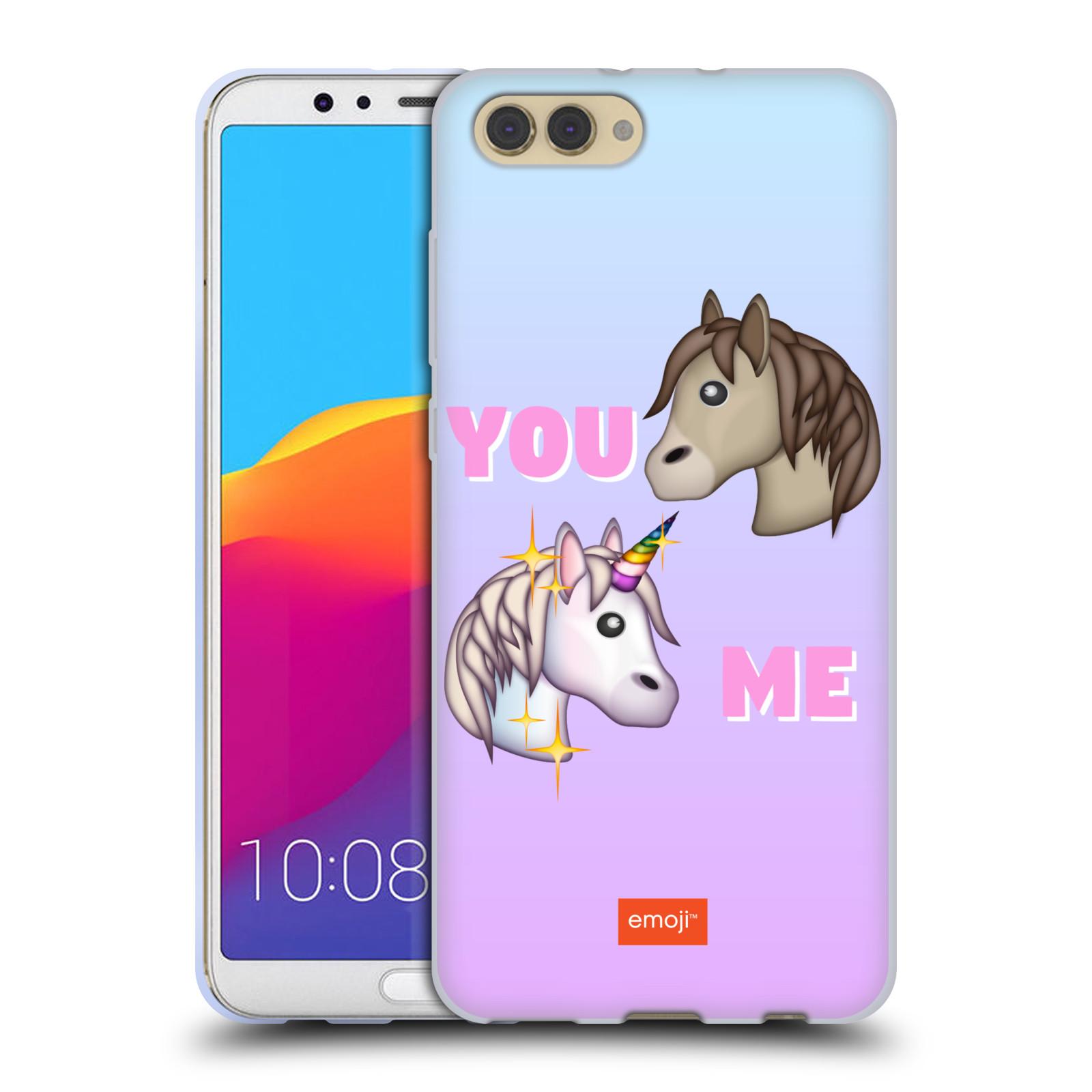 HEAD CASE silikonový obal na mobil Huawei HONOR VIEW 10 / V10 smajlíci oficiální kryt EMOJI vzor dva jednorožci YOU and ME
