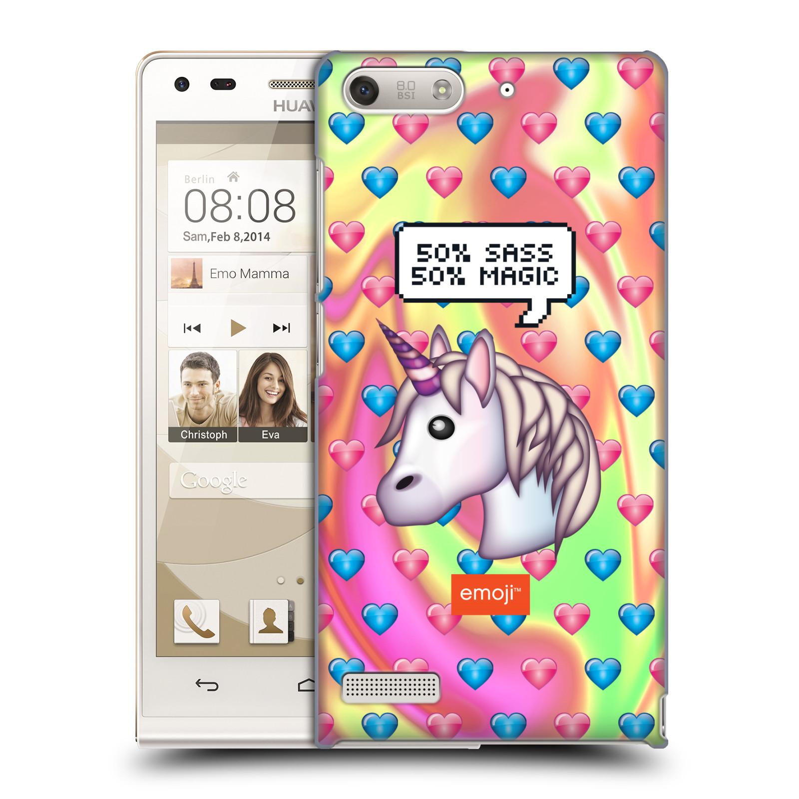Plastové pouzdro na mobil Huawei Ascend G6 HEAD CASE EMOJI - Jednorožec (Kryt či obal s oficiálním motivem EMOJI na mobilní telefon Huawei Ascend G6 bez LTE)