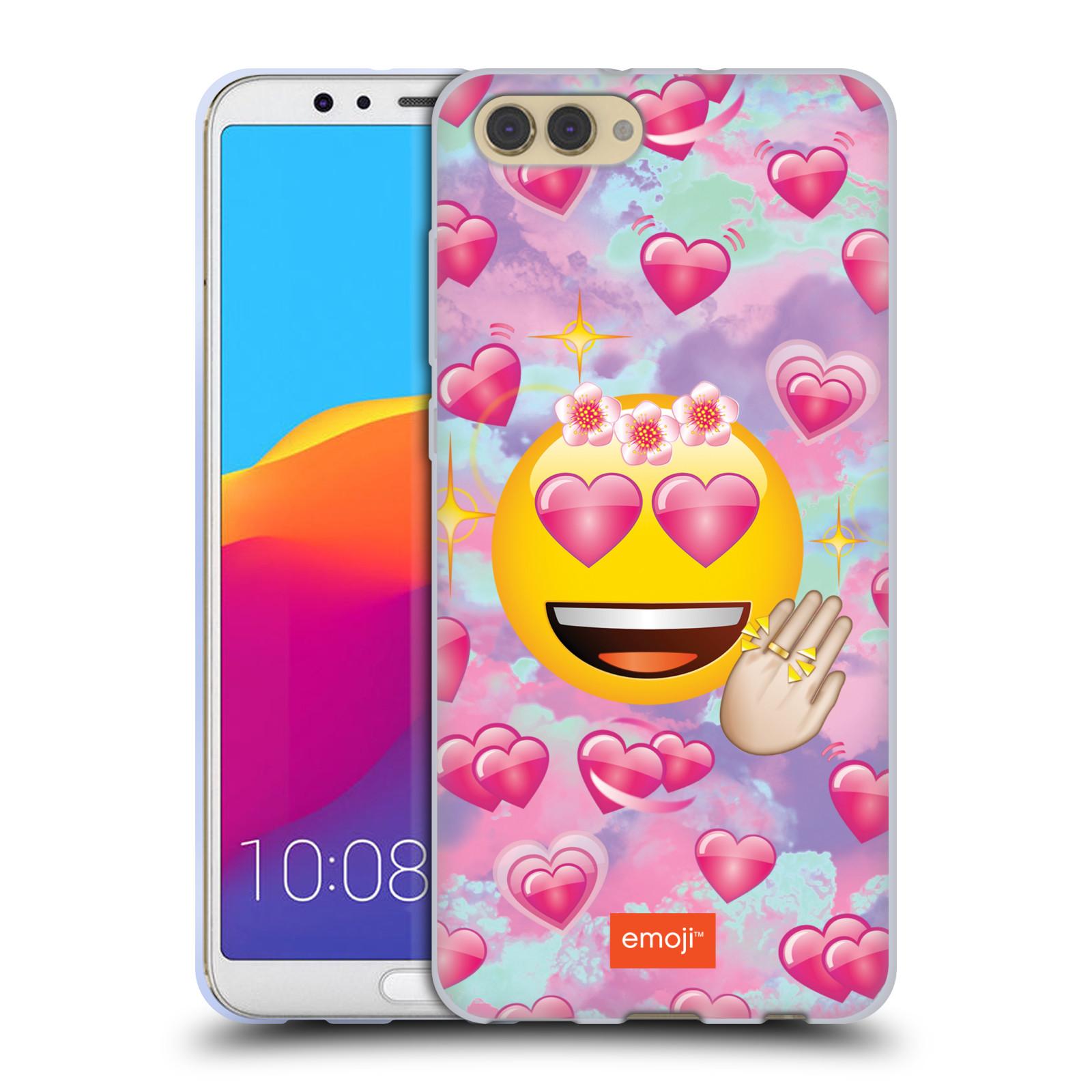 HEAD CASE silikonový obal na mobil Huawei HONOR VIEW 10 / V10 smajlík oficiální kryt EMOJI velký smajlík růžová srdíčka
