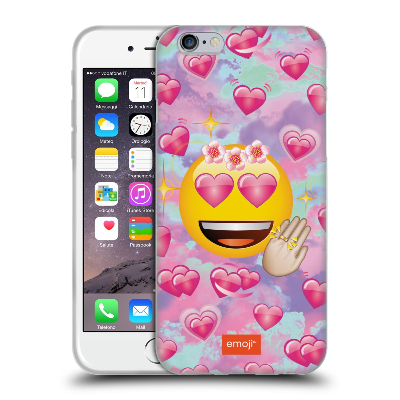 HEAD CASE silikonový obal na mobil Apple Iphone 6 6S smajlík oficiální kryt  EMOJI velký smajlík růžová srdíčka 7a0d118a3ba