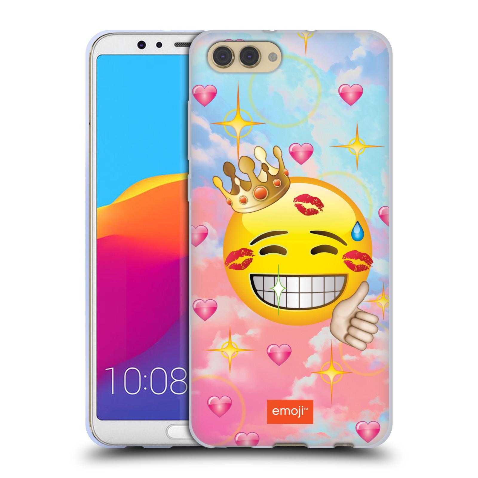 HEAD CASE silikonový obal na mobil Huawei HONOR VIEW 10 / V10 smajlík oficiální kryt EMOJI velký smajlík polibky a koruna