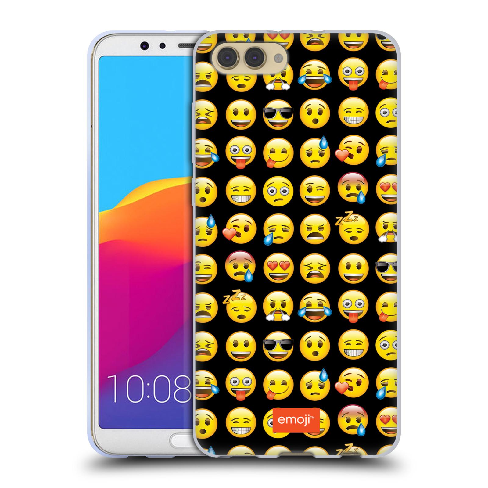 HEAD CASE silikonový obal na mobil Huawei HONOR VIEW 10 / V10 smajlík oficiální kryt EMOJI černé pozadí klasičtí smajlíci