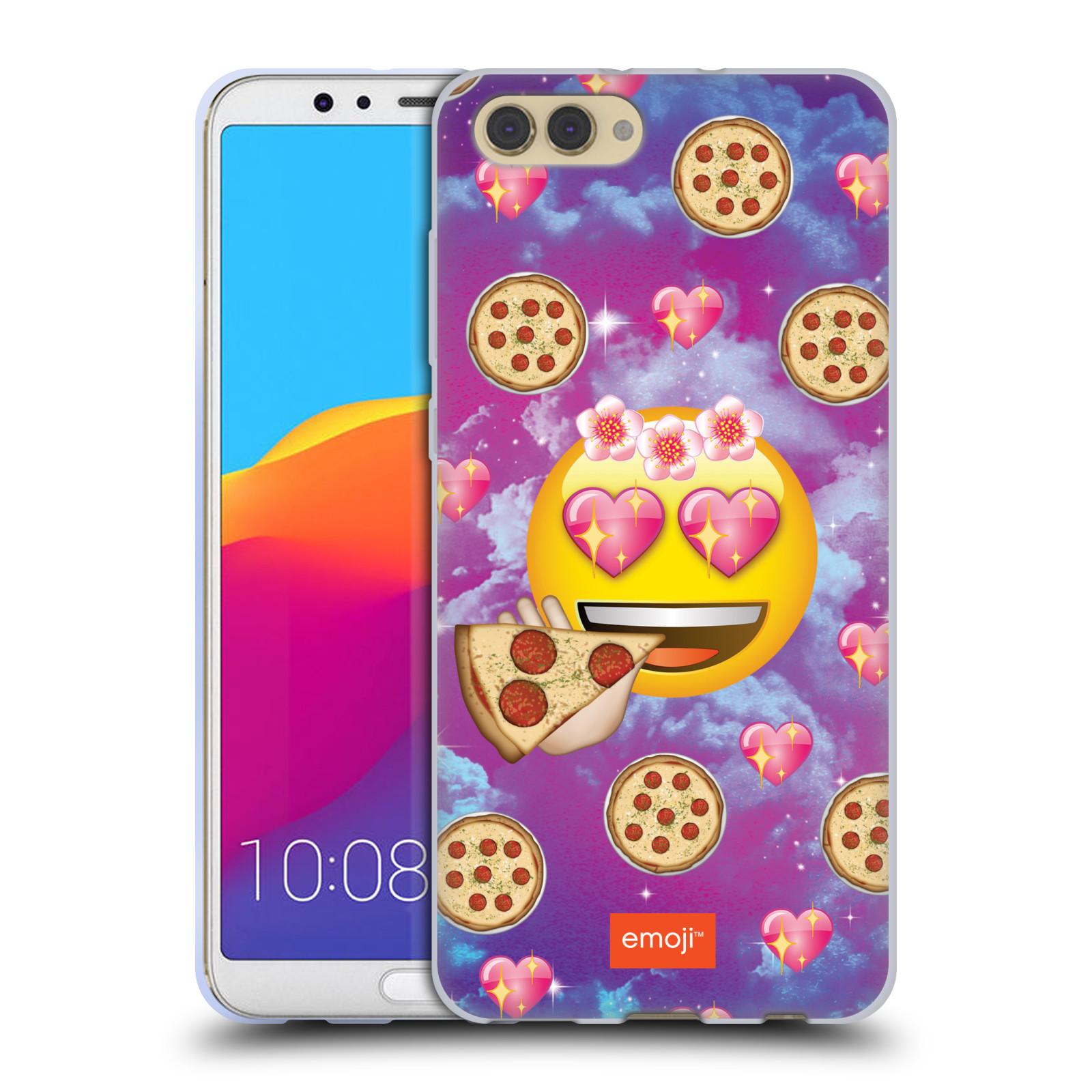 HEAD CASE silikonový obal na mobil Huawei HONOR VIEW 10 / V10 smajlík oficiální kryt EMOJI velký smajlík milovník pizzy