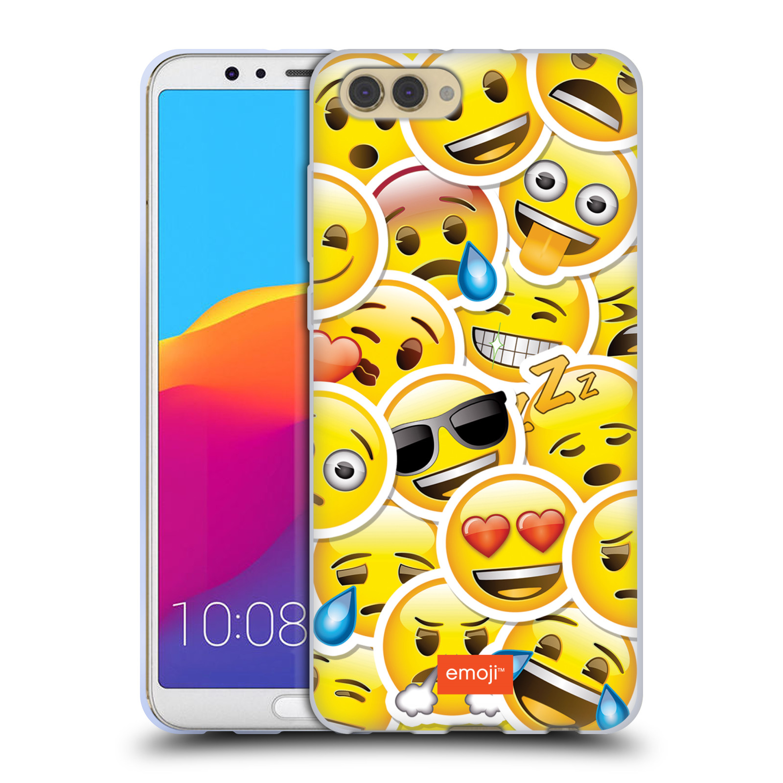 HEAD CASE silikonový obal na mobil Huawei HONOR VIEW 10 / V10 smajlík oficiální kryt EMOJI velcí smajlíci nálepky