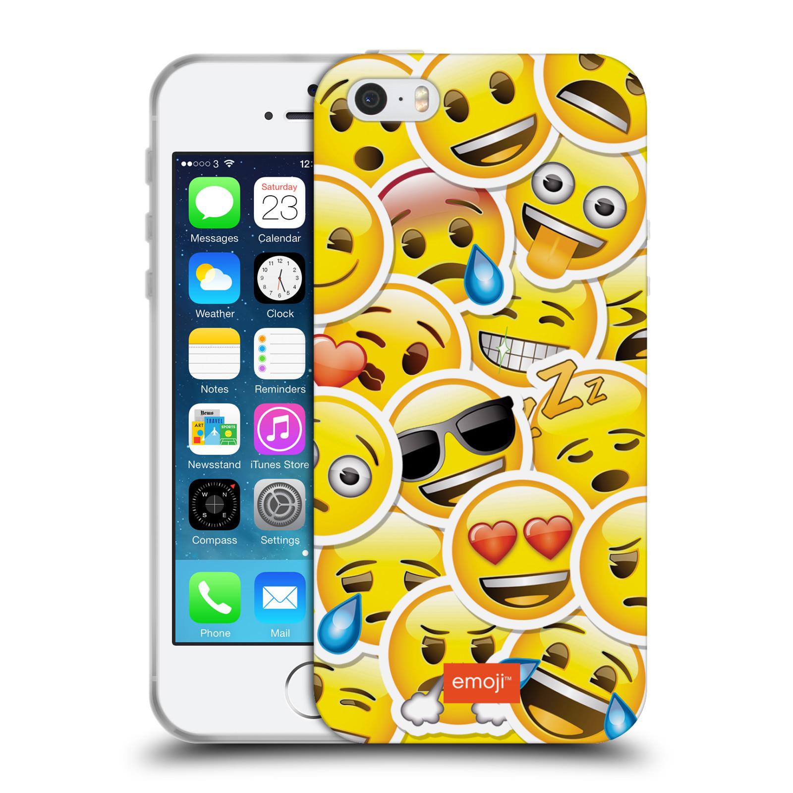 HEAD CASE silikonový obal na mobil Apple Iphone 5 5S smajlík oficiální kryt  EMOJI velcí smajlíci nálepky 9c3ee2a330a