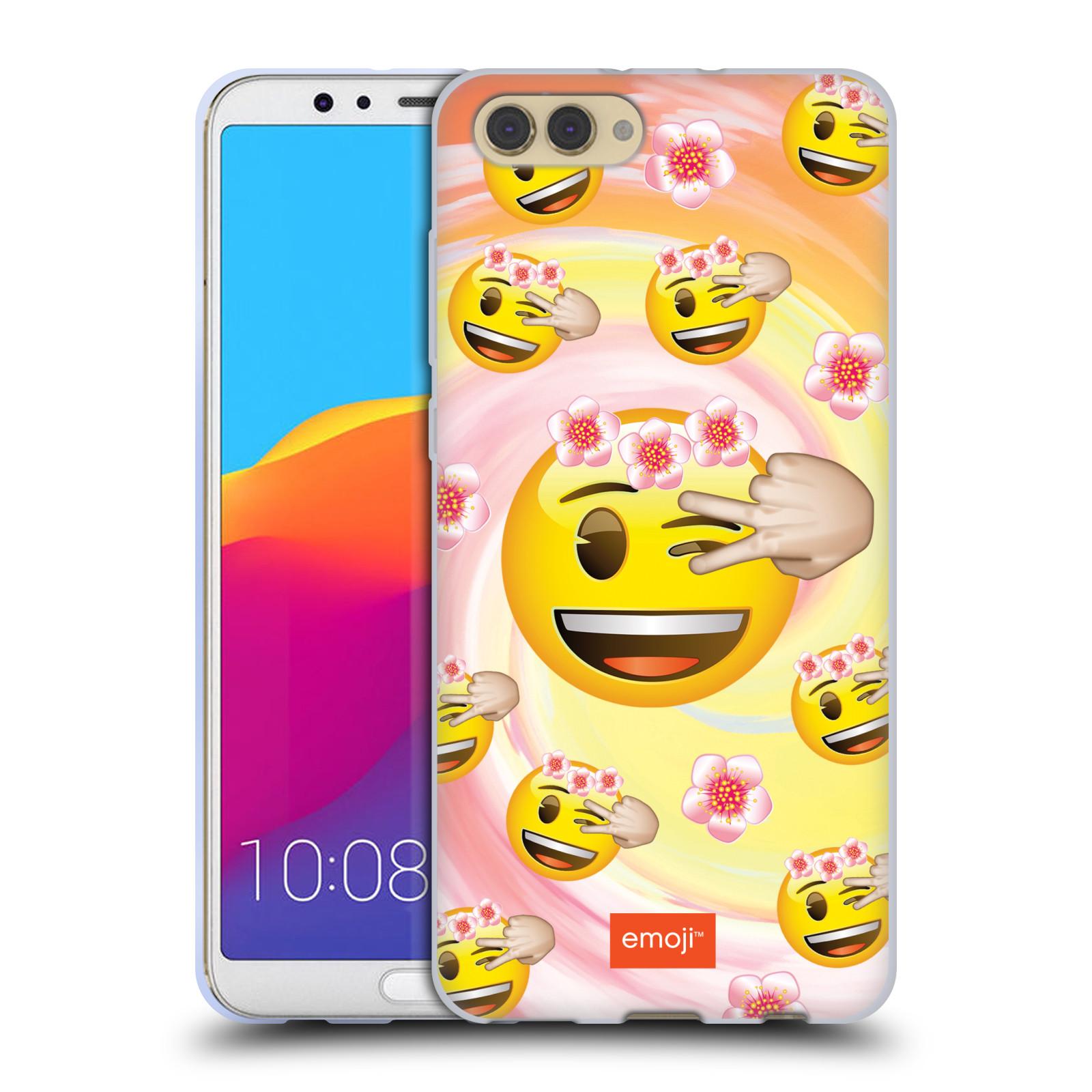 HEAD CASE silikonový obal na mobil Huawei HONOR VIEW 10 / V10 smajlík oficiální kryt EMOJI velký smajlík květiny věneček