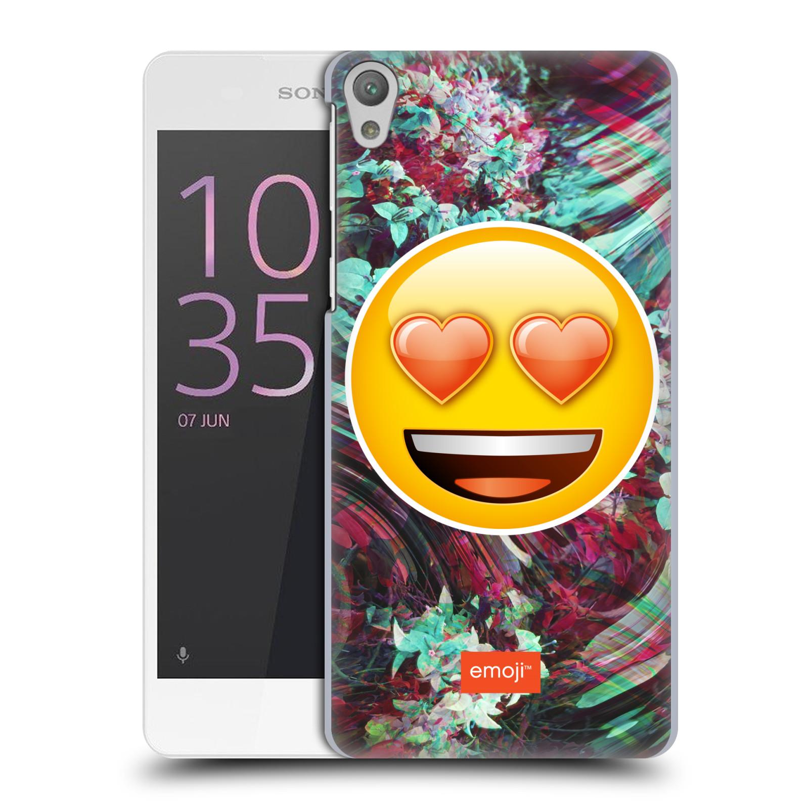 Pouzdro na mobil Sony Xperia E5 - HEAD CASE - Emoji smajlík srdíčka v očích