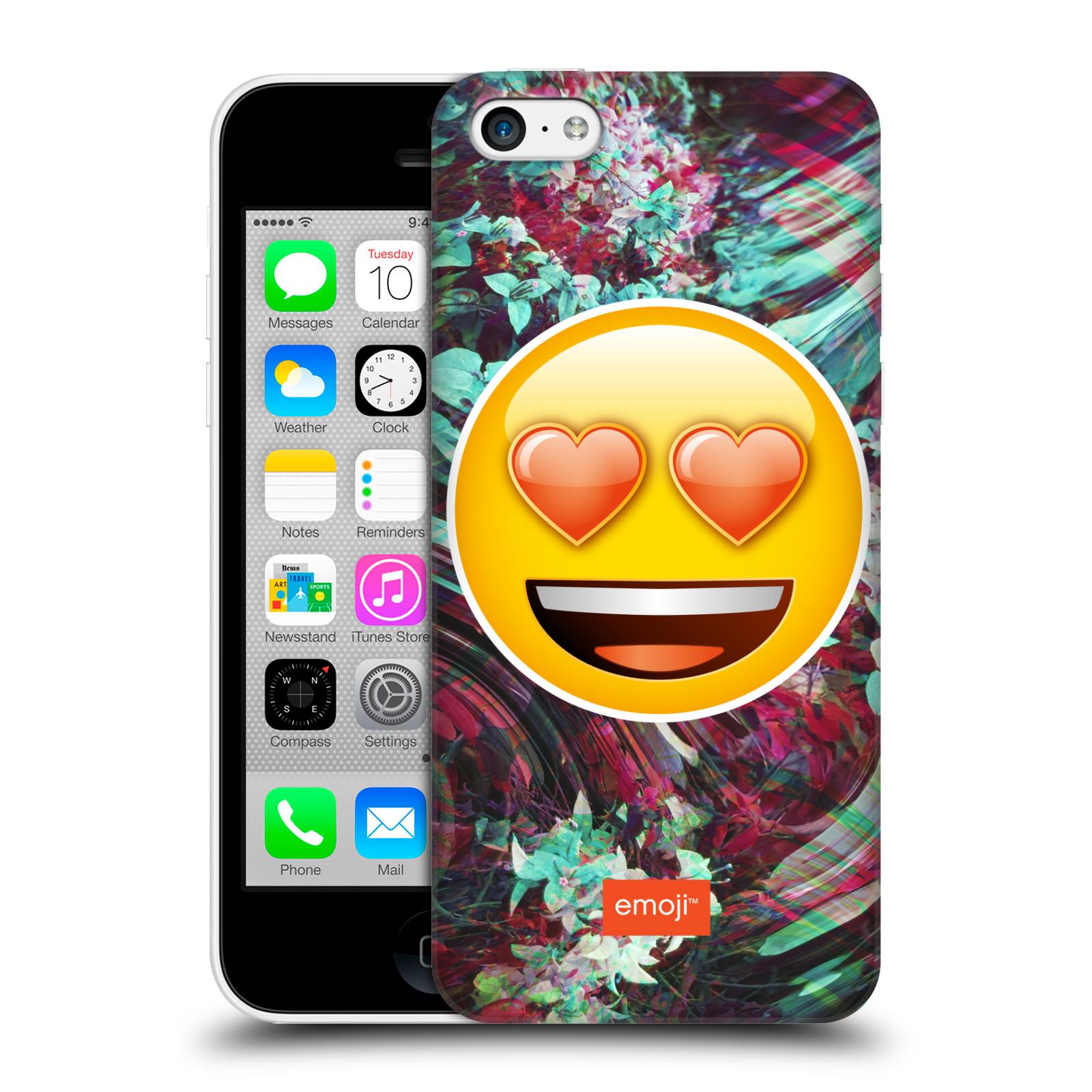 Pouzdro na mobil Apple Iphone 5C - HEAD CASE - Emoji smajlík srdíčka v očích