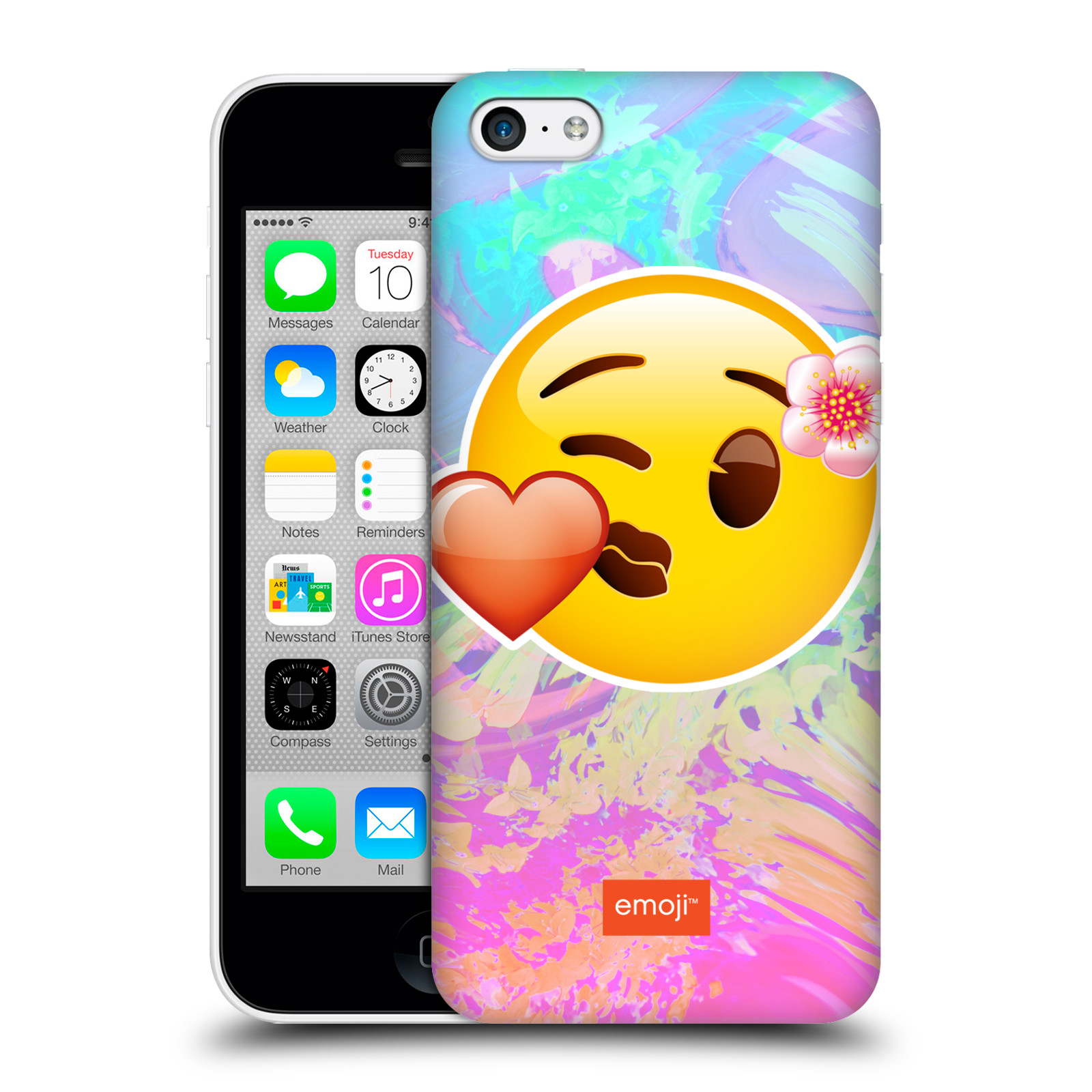 Pouzdro na mobil Apple Iphone 5C - HEAD CASE - Emoji smajlík pusinka