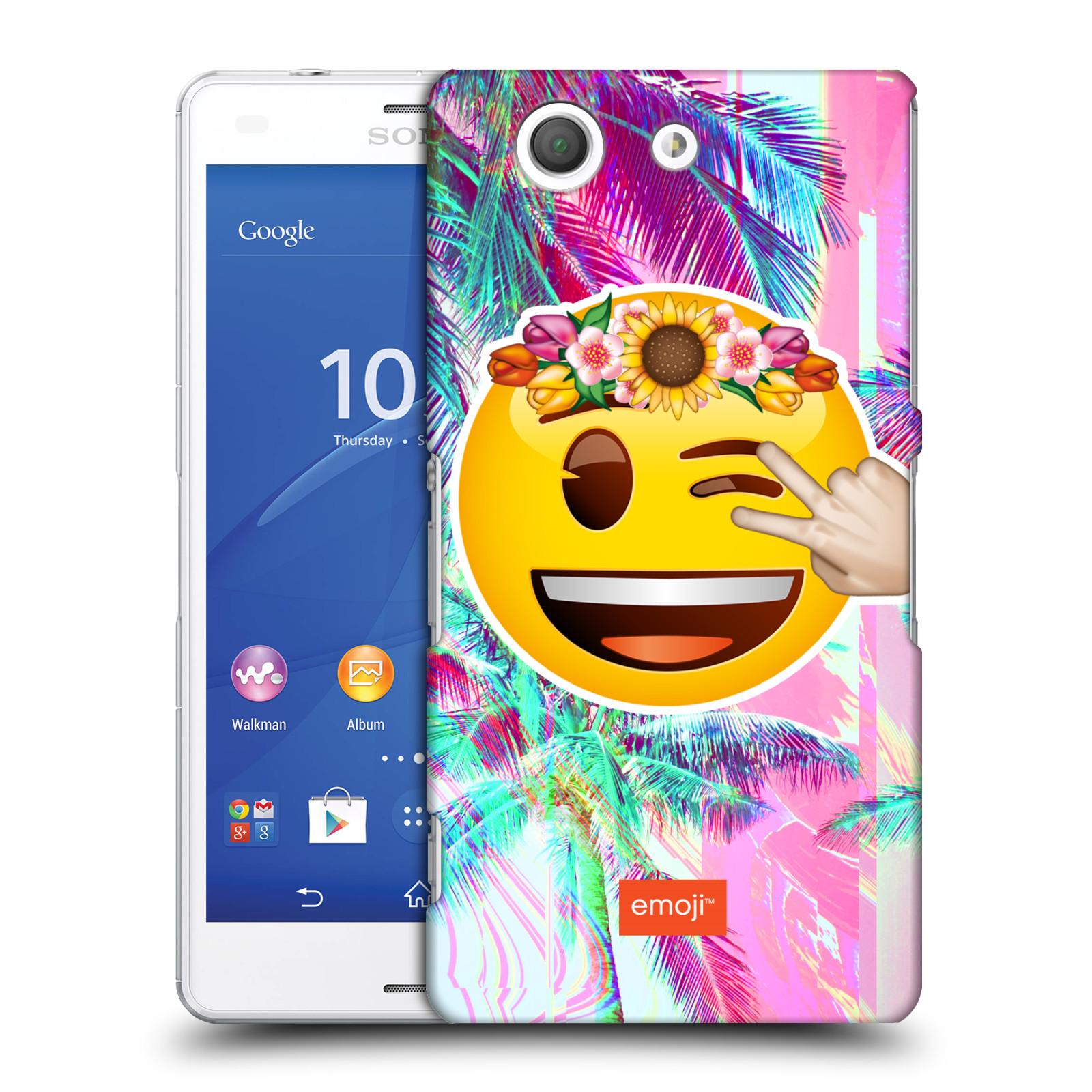 Pouzdro na mobil Sony Xperia Z3 COMPACT - HEAD CASE - Emoji smajlík palmy a květiny