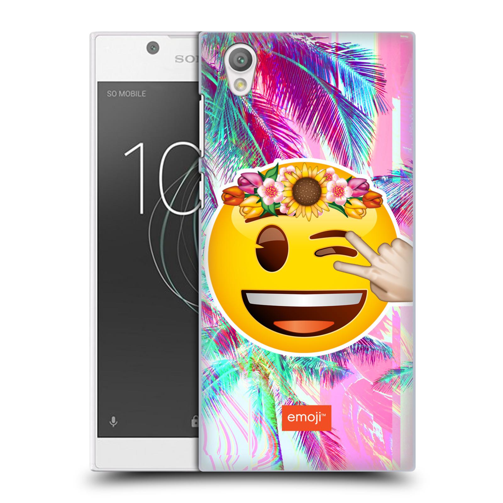 Pouzdro na mobil Sony Xperia L1 - HEAD CASE - Emoji smajlík palmy a květiny