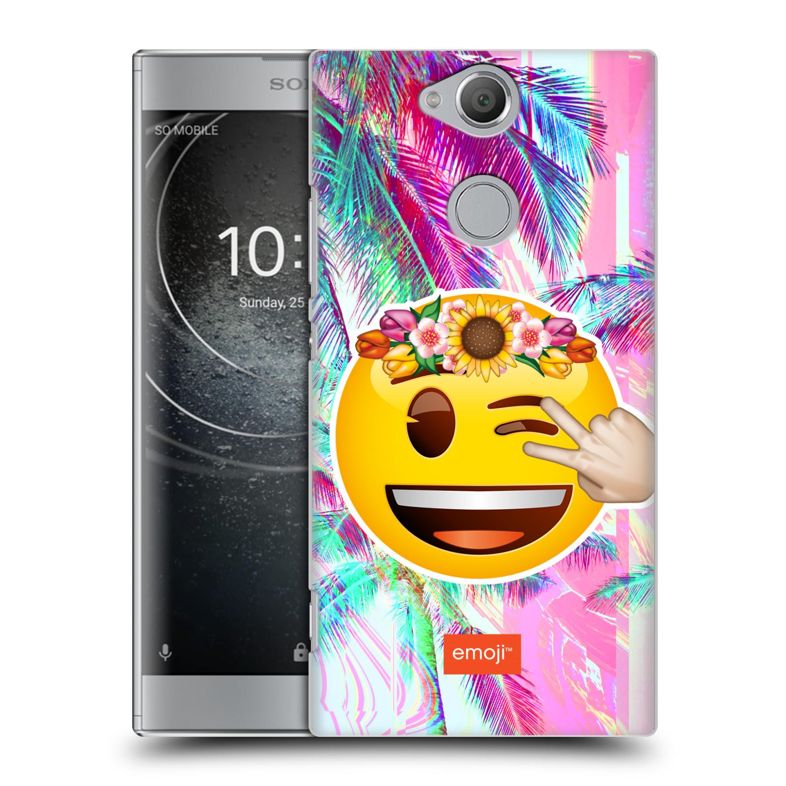 Pouzdro na mobil Sony Xperia XA2 - HEAD CASE - Emoji smajlík palmy a květiny