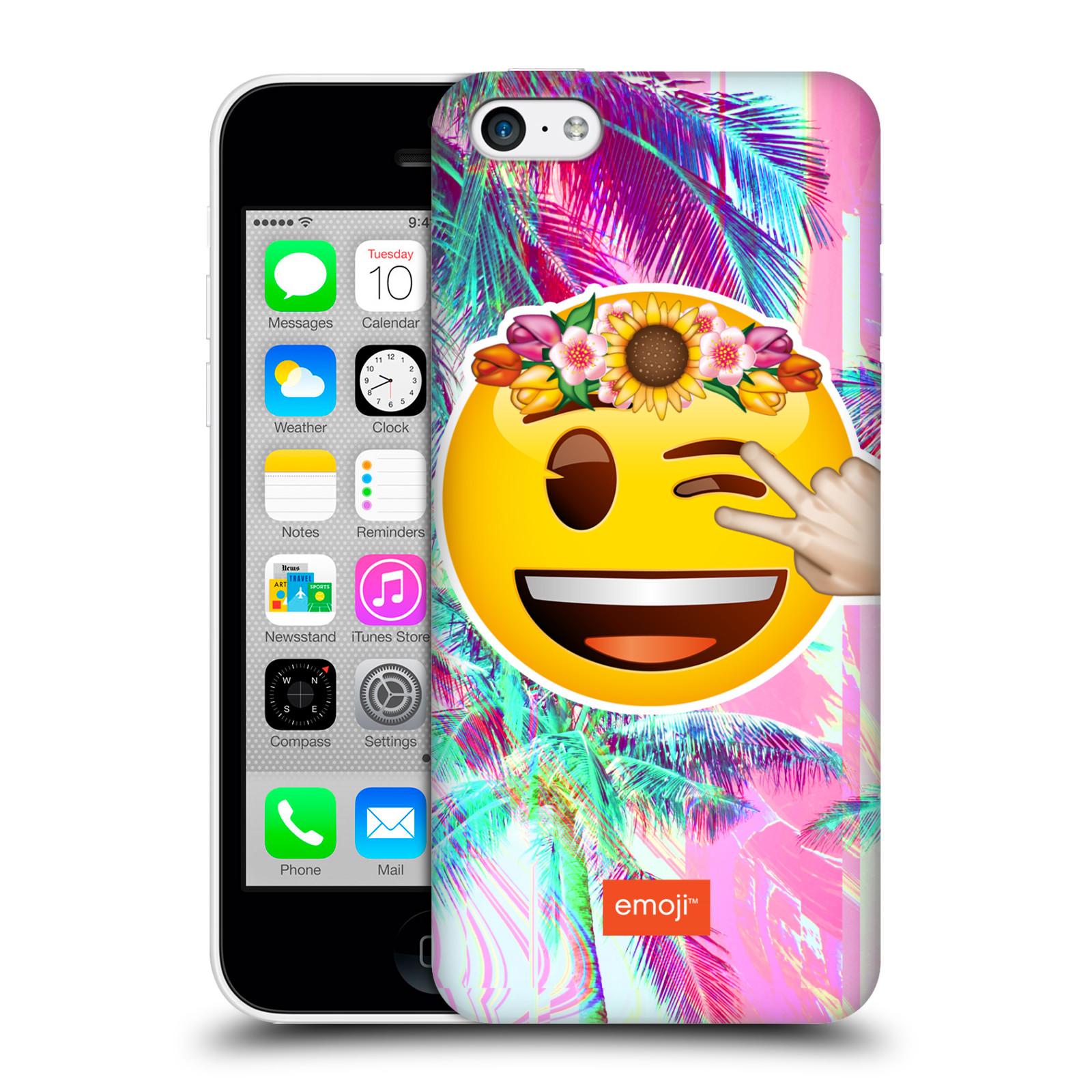 Pouzdro na mobil Apple Iphone 5C - HEAD CASE - Emoji smajlík palmy a květiny