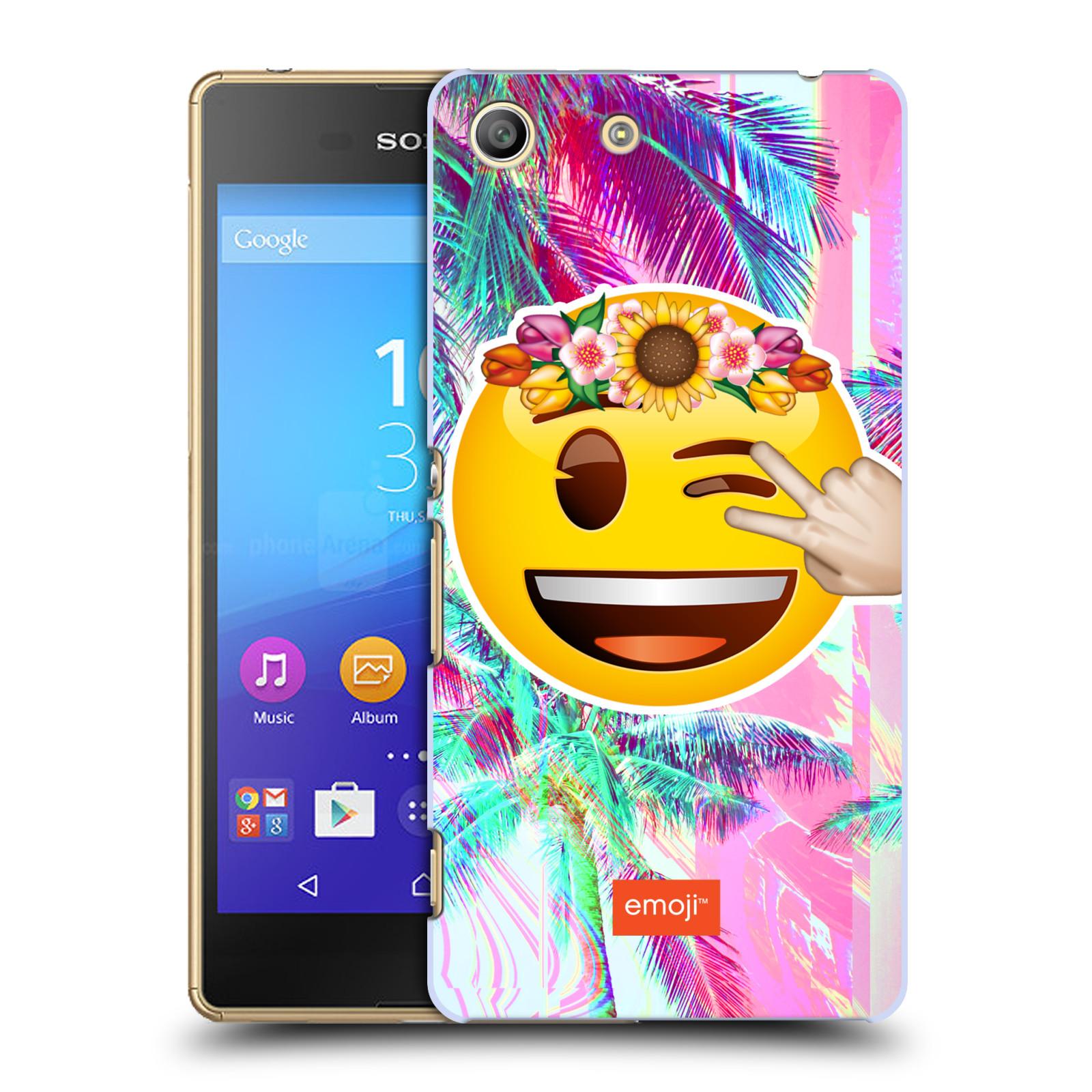 Pouzdro na mobil Sony Xperia M5 - HEAD CASE - Emoji smajlík palmy a květiny