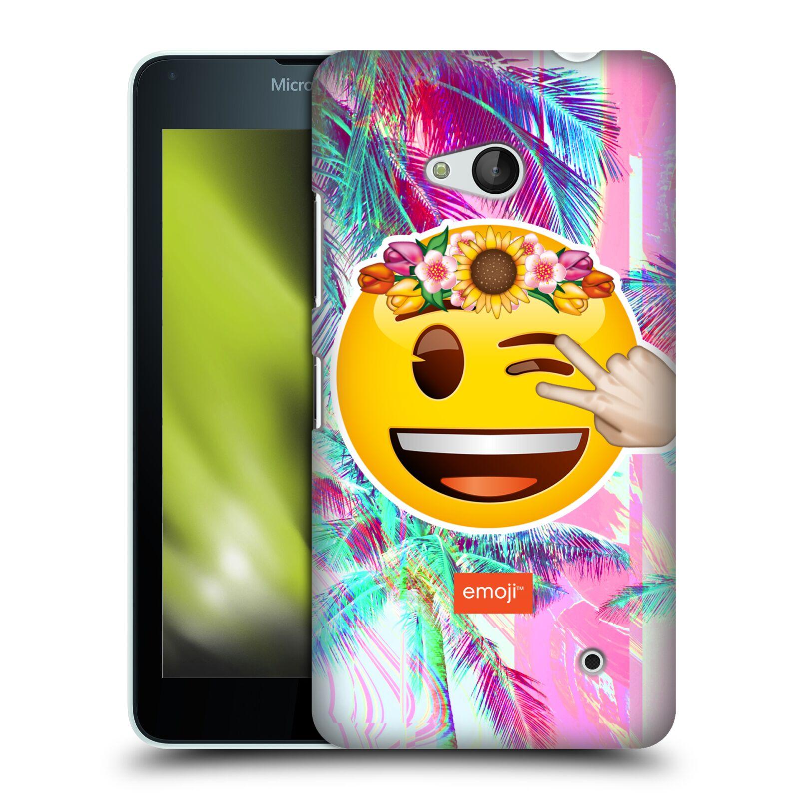 Pouzdro na mobil Microsoft Lumia 640 / 640 DUAL SIM - HEAD CASE - Emoji smajlík palmy a květiny