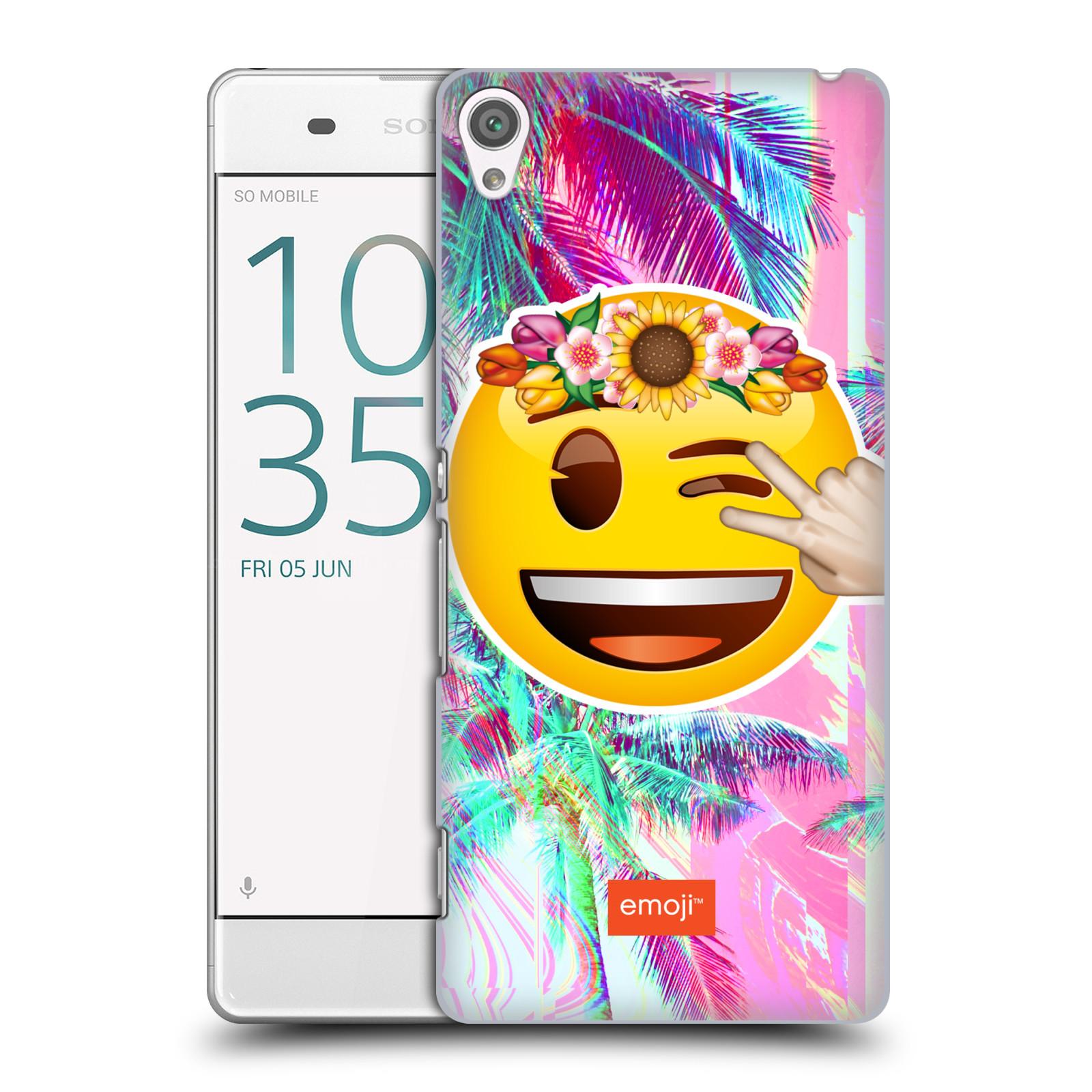 Pouzdro na mobil Sony Xperia XA - HEAD CASE - Emoji smajlík palmy a květiny