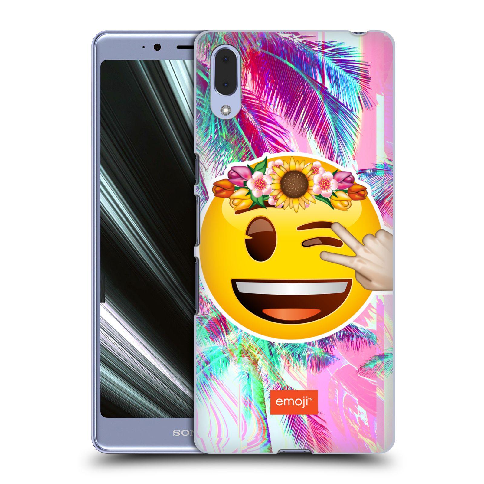 Pouzdro na mobil Sony Xperia L3 - HEAD CASE - Emoji smajlík palmy a květiny