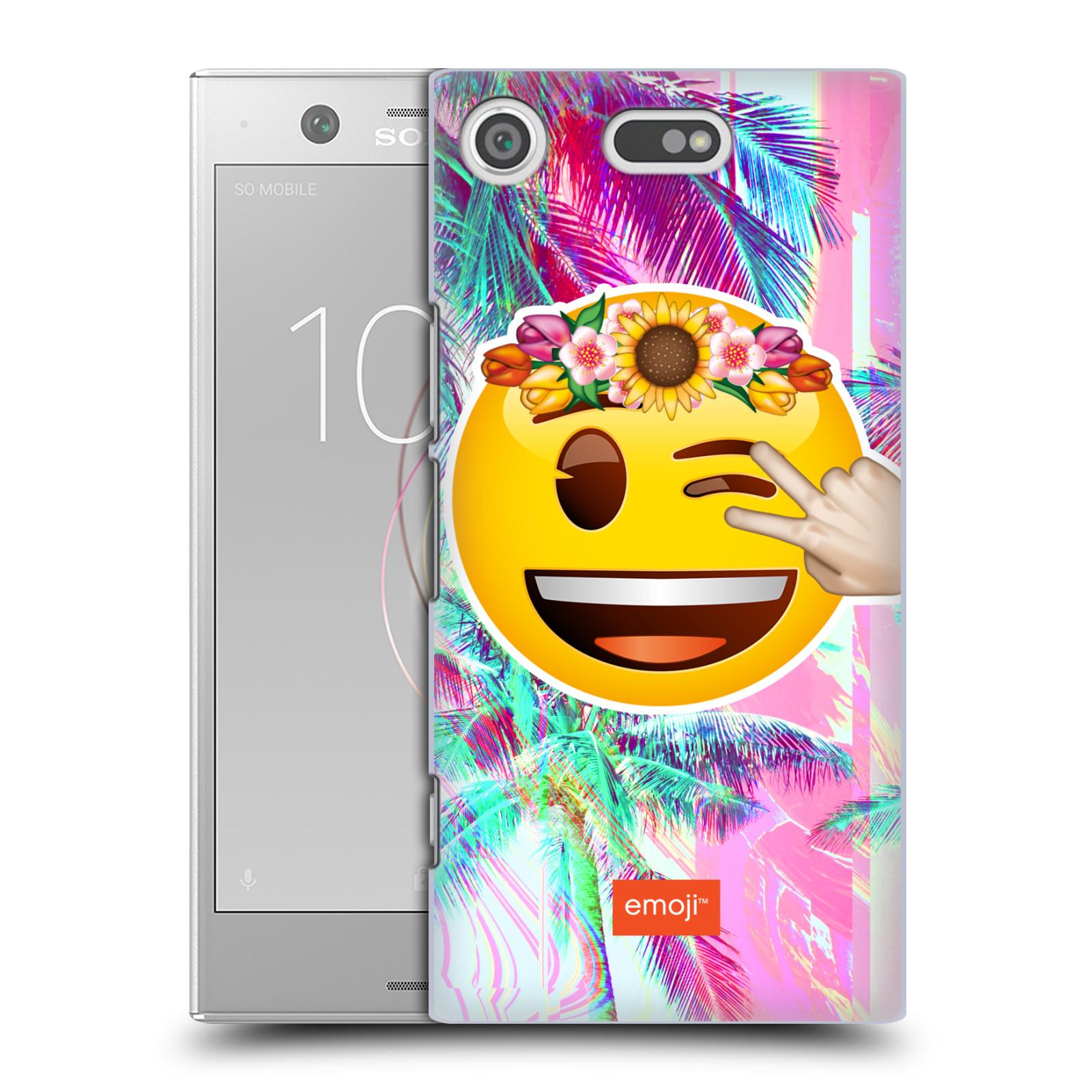 Pouzdro na mobil Sony Xperia XZ1 COMPACT - HEAD CASE - Emoji smajlík palmy a květiny