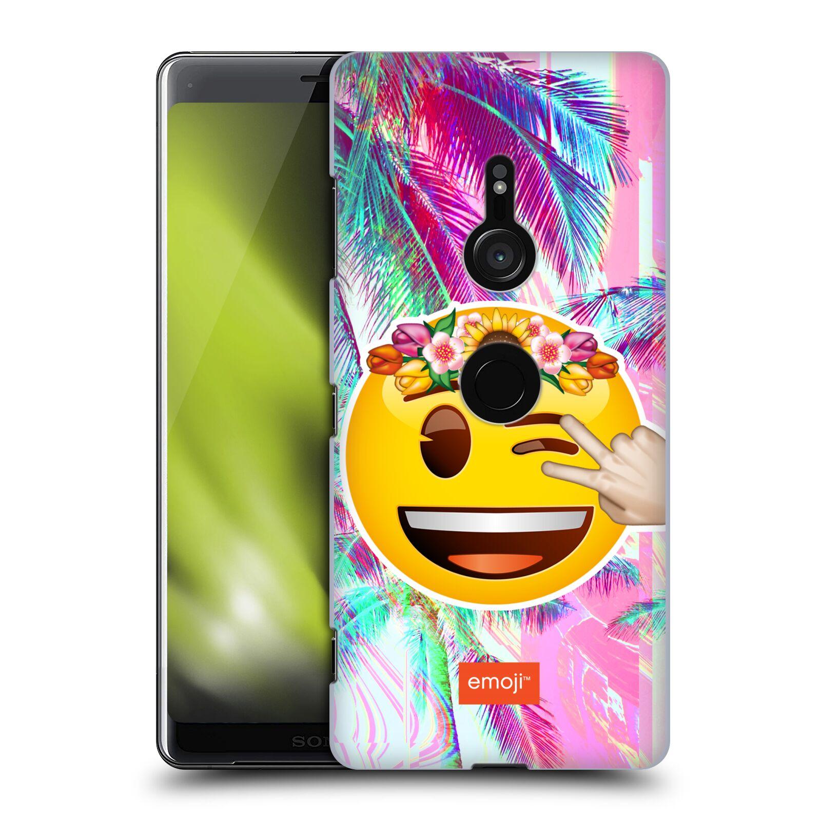 Pouzdro na mobil Sony Xperia XZ3 - HEAD CASE - Emoji smajlík palmy a květiny