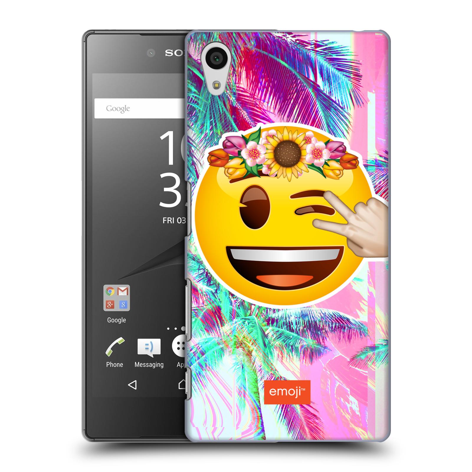 Pouzdro na mobil Sony Xperia Z5 - HEAD CASE - Emoji smajlík palmy a květiny