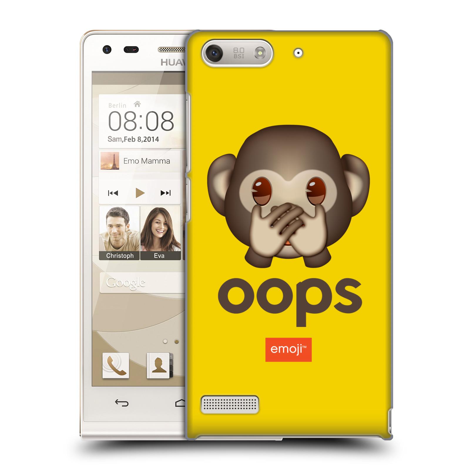 Plastové pouzdro na mobil Huawei Ascend G6 HEAD CASE EMOJI - Opička OOPS (Kryt či obal s oficiálním motivem EMOJI na mobilní telefon Huawei Ascend G6 bez LTE)