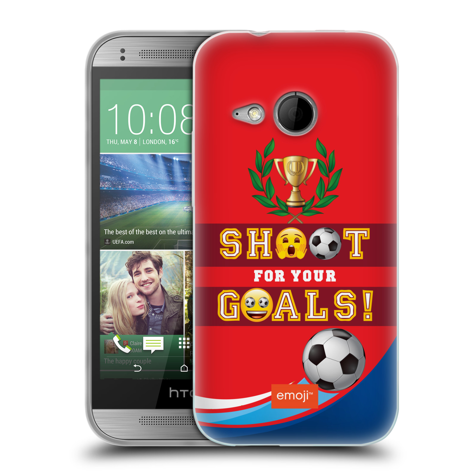 HEAD CASE silikonový obal na mobil HTC One MINI 2 smajlíci oficiální kryt EMOJI vzor fotbal střela a gól