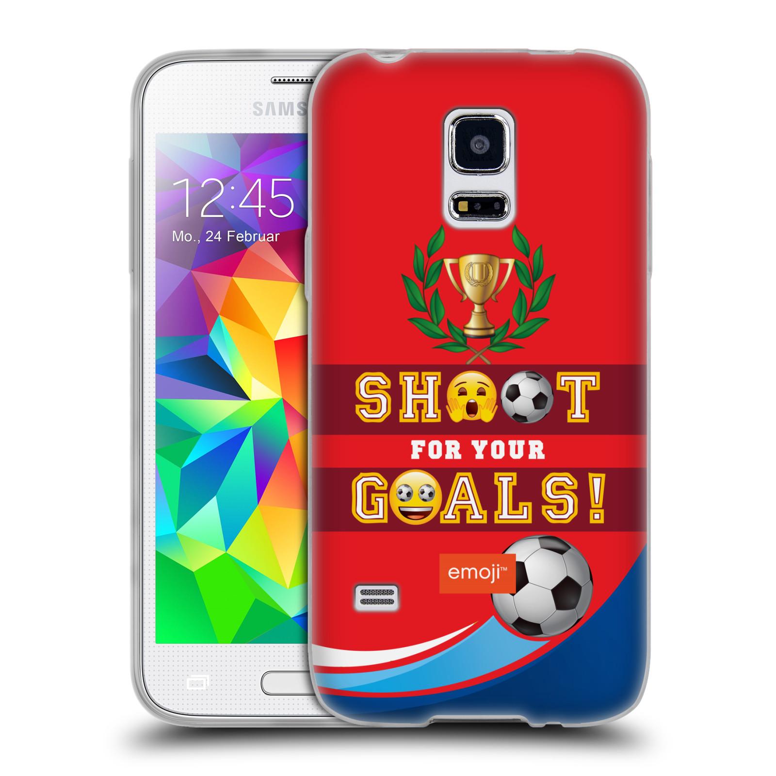 HEAD CASE silikonový obal na mobil Samsung Galaxy S5 MINI smajlíci oficiální kryt EMOJI vzor fotbal střela a gól