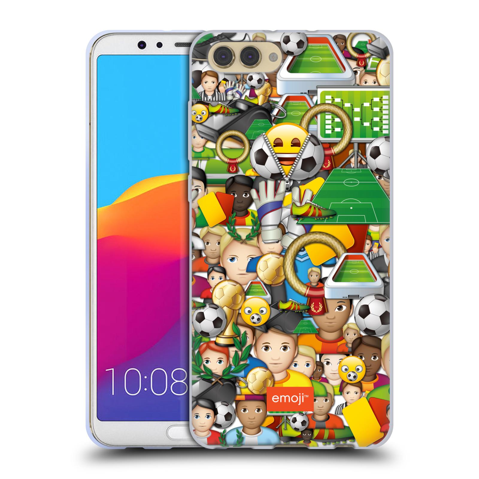 HEAD CASE silikonový obal na mobil Huawei HONOR VIEW 10 / V10 smajlíci oficiální kryt EMOJI vzor fotbal koláž