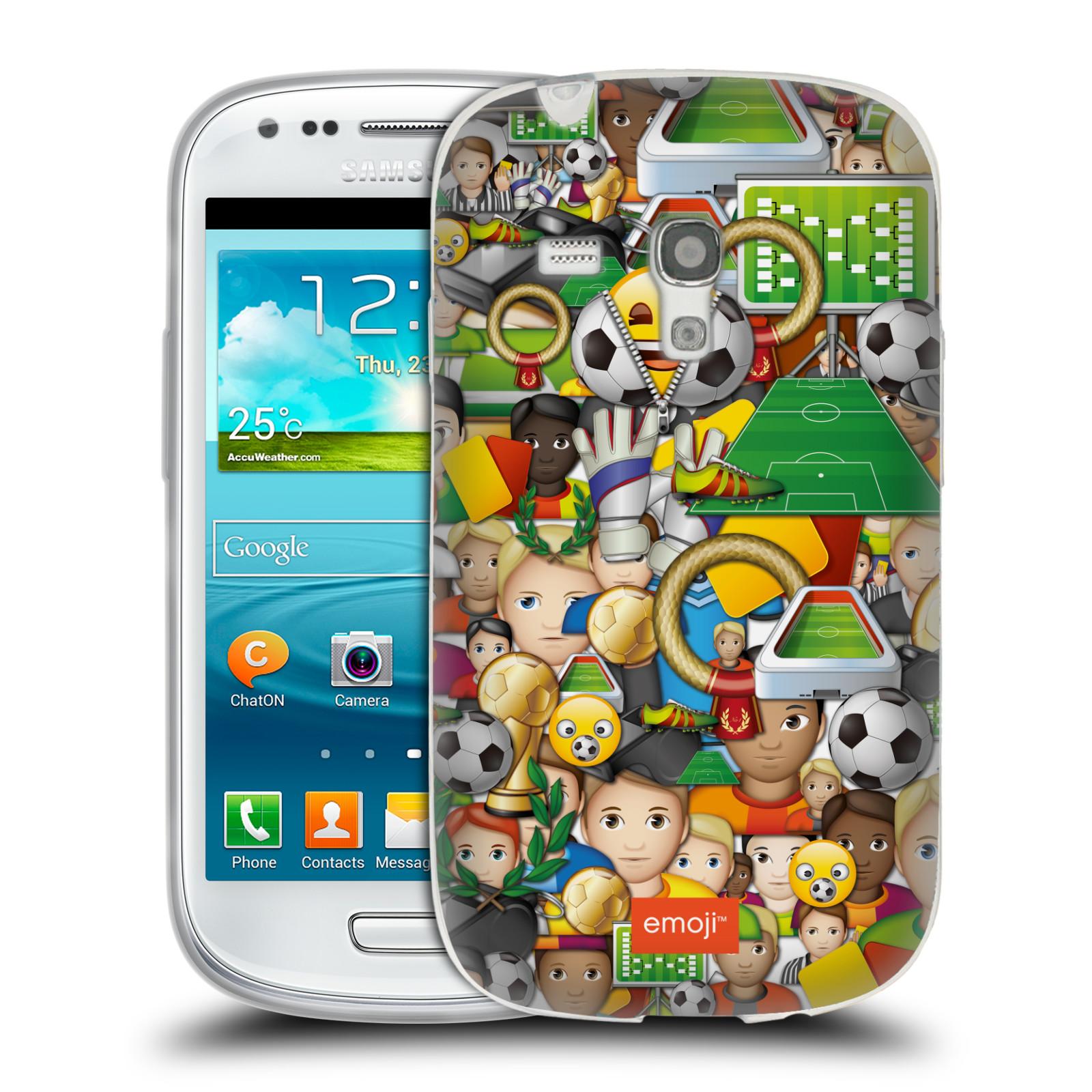 HEAD CASE silikonový obal na mobil Samsung Galaxy S3 MINI smajlíci oficiální kryt EMOJI vzor fotbal koláž