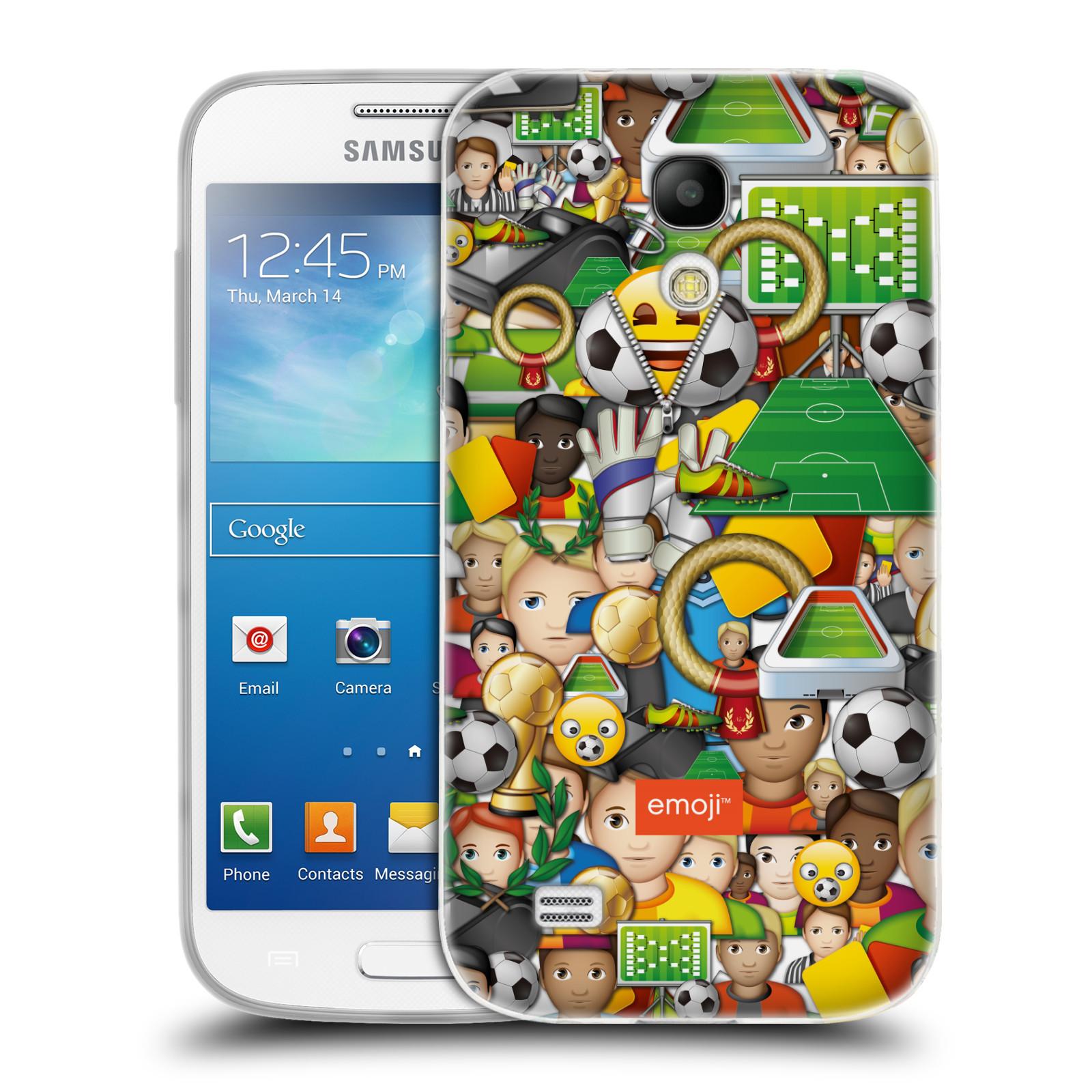 HEAD CASE silikonový obal na mobil Samsung Galaxy S4 MINI smajlíci oficiální kryt EMOJI vzor fotbal koláž