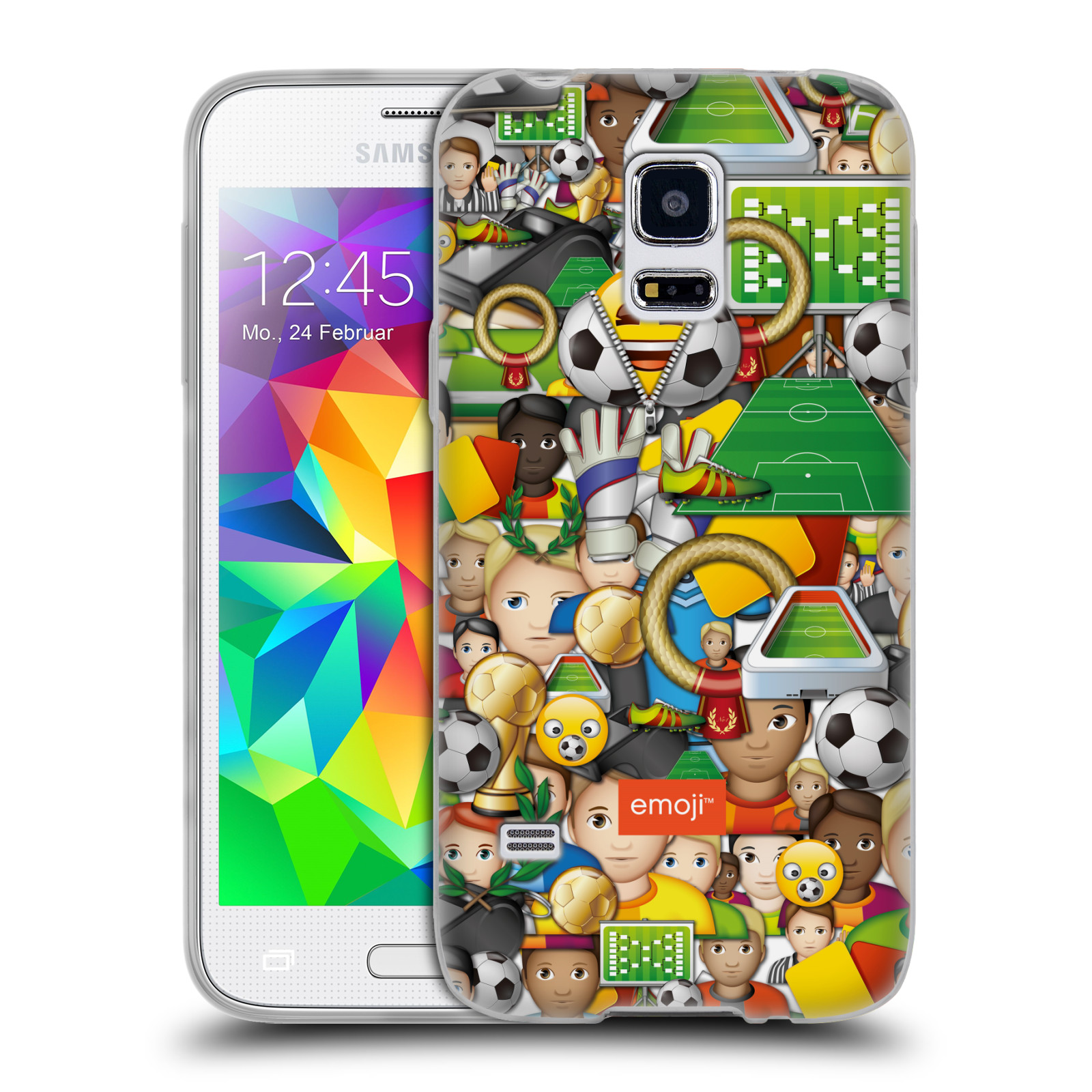 HEAD CASE silikonový obal na mobil Samsung Galaxy S5 MINI smajlíci oficiální kryt EMOJI vzor fotbal koláž
