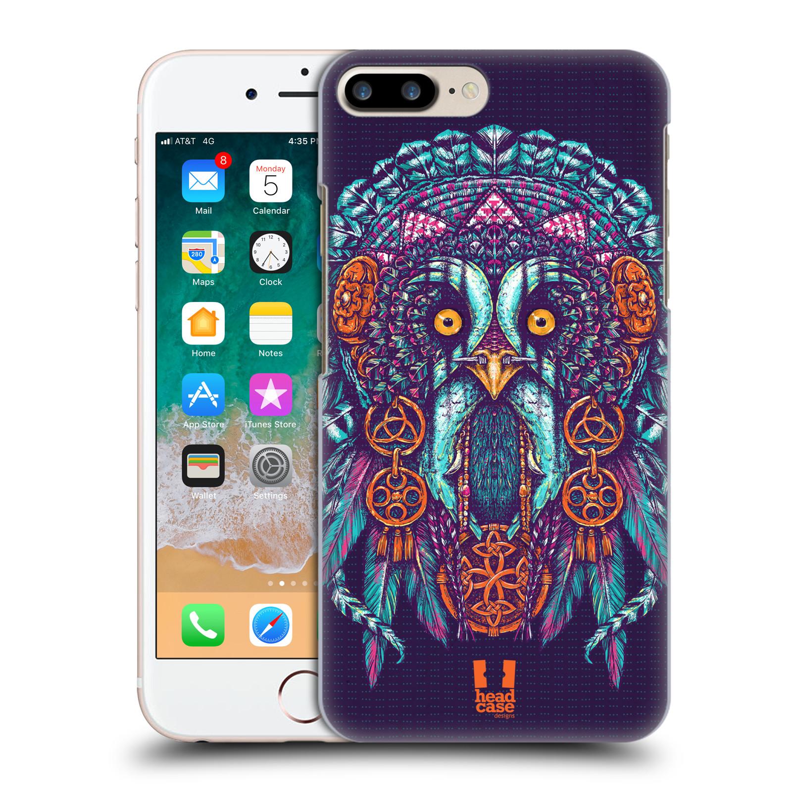HEAD CASE plastový obal na mobil Apple Iphone 7 PLUS vzor Etnické sovy oranžová a modrá