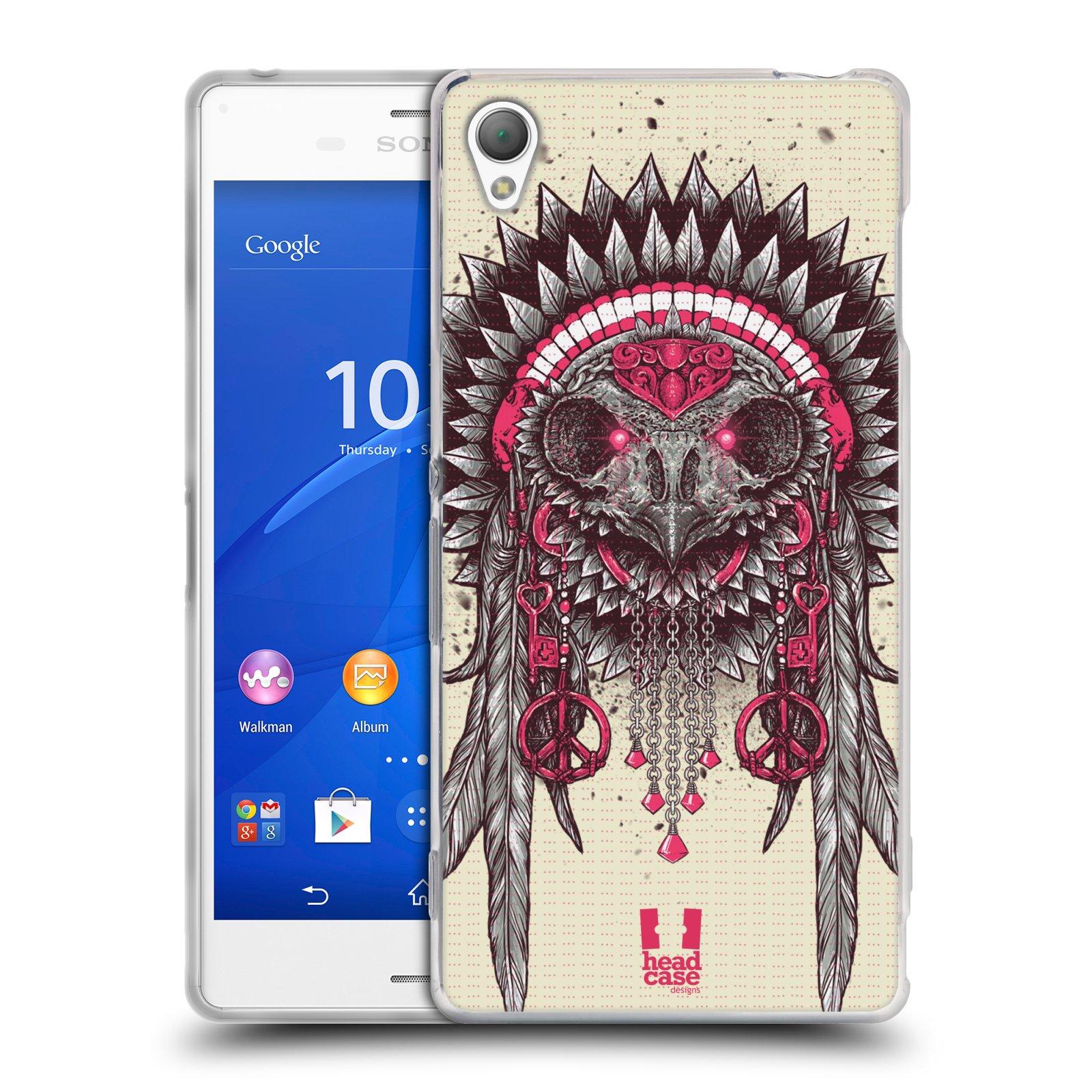 HEAD CASE silikonový obal na mobil Sony Xperia Z3 vzor Etnické sovy růžová a šedá