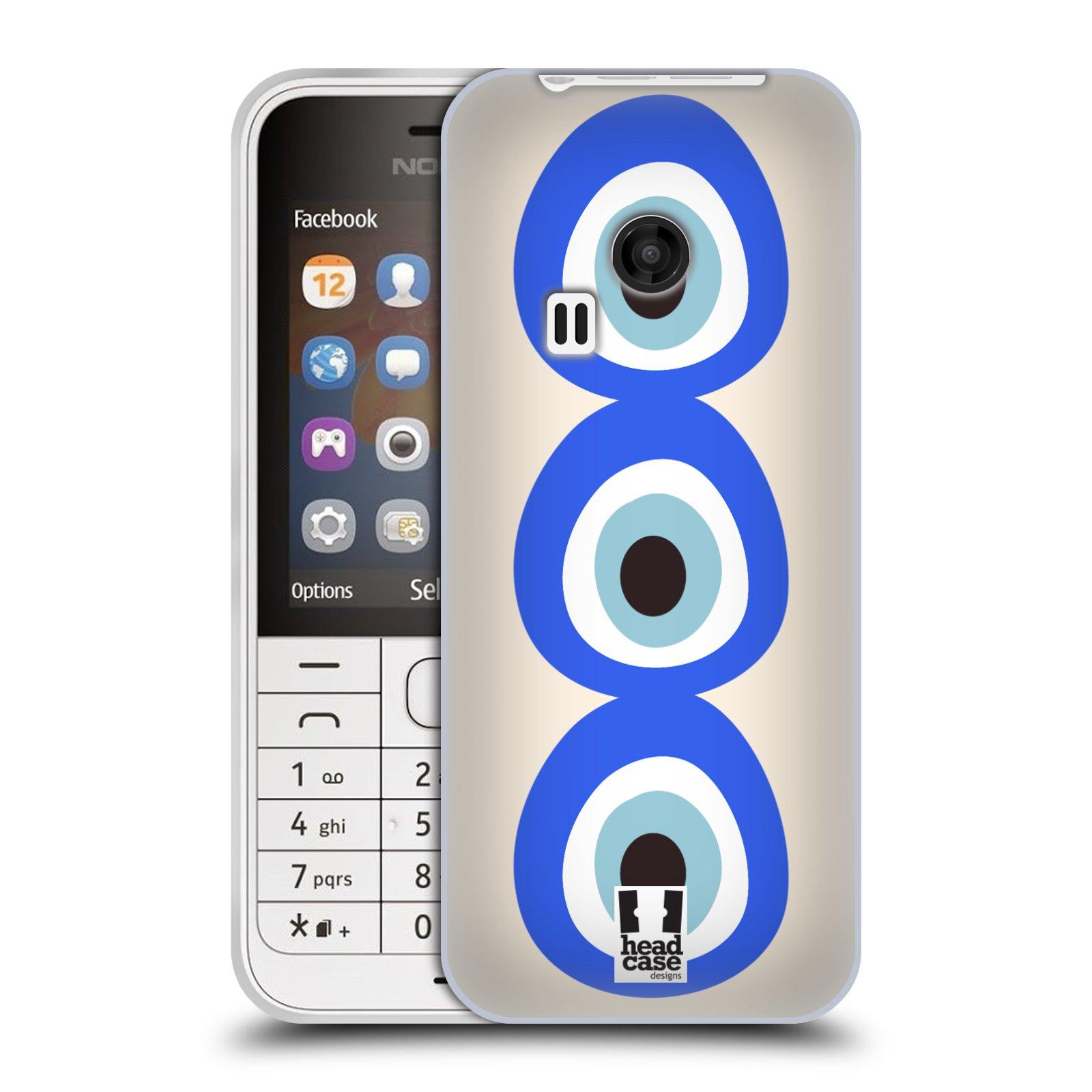 HEAD CASE silikonový obal na mobil NOKIA 220 / NOKIA 220 DUAL SIM vzor Paví oko 3 očka