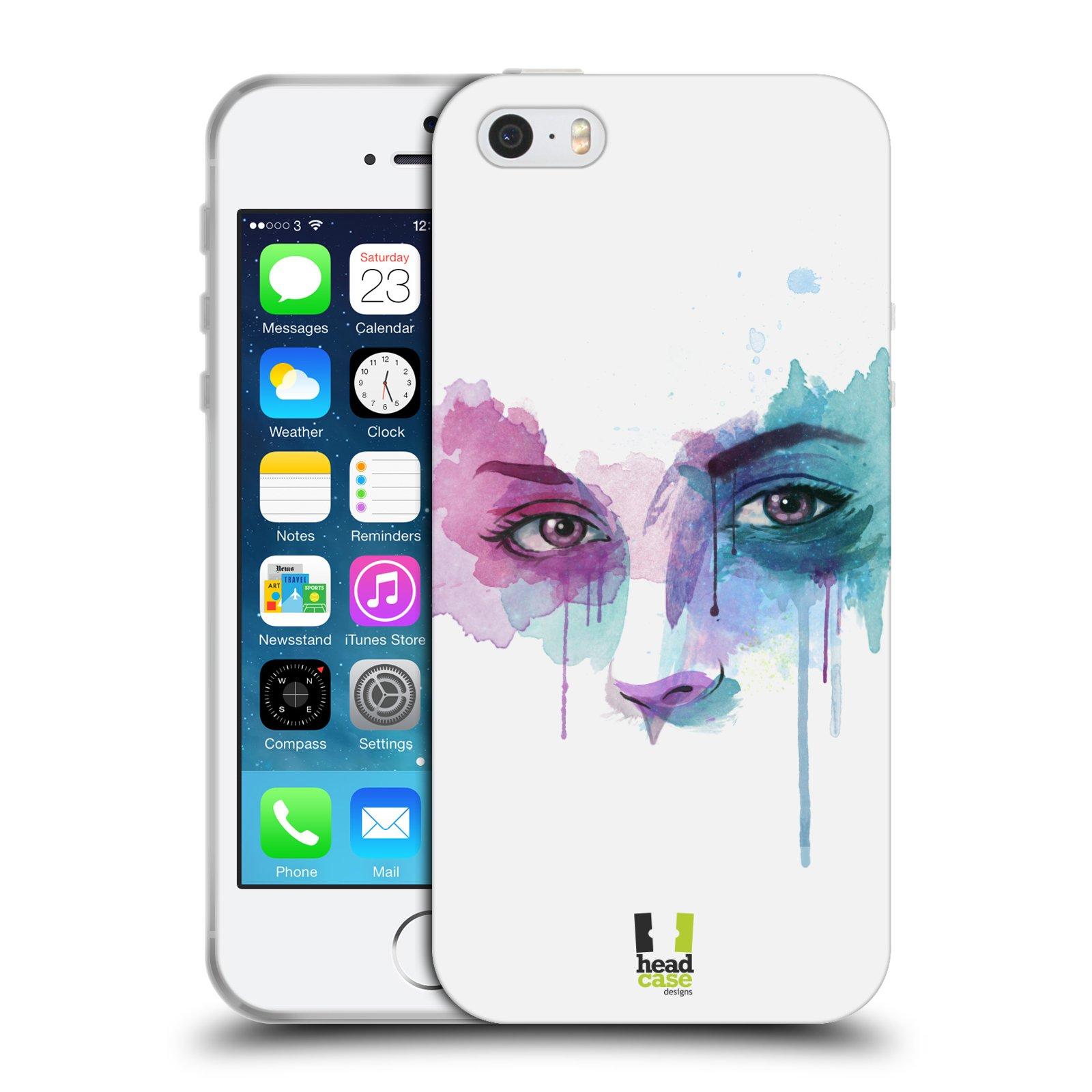 HEAD CASE silikonový obal na mobil Apple Iphone SE vzor Tvaře vodní barvy  NOVÝ POHLED 0694d3aa912