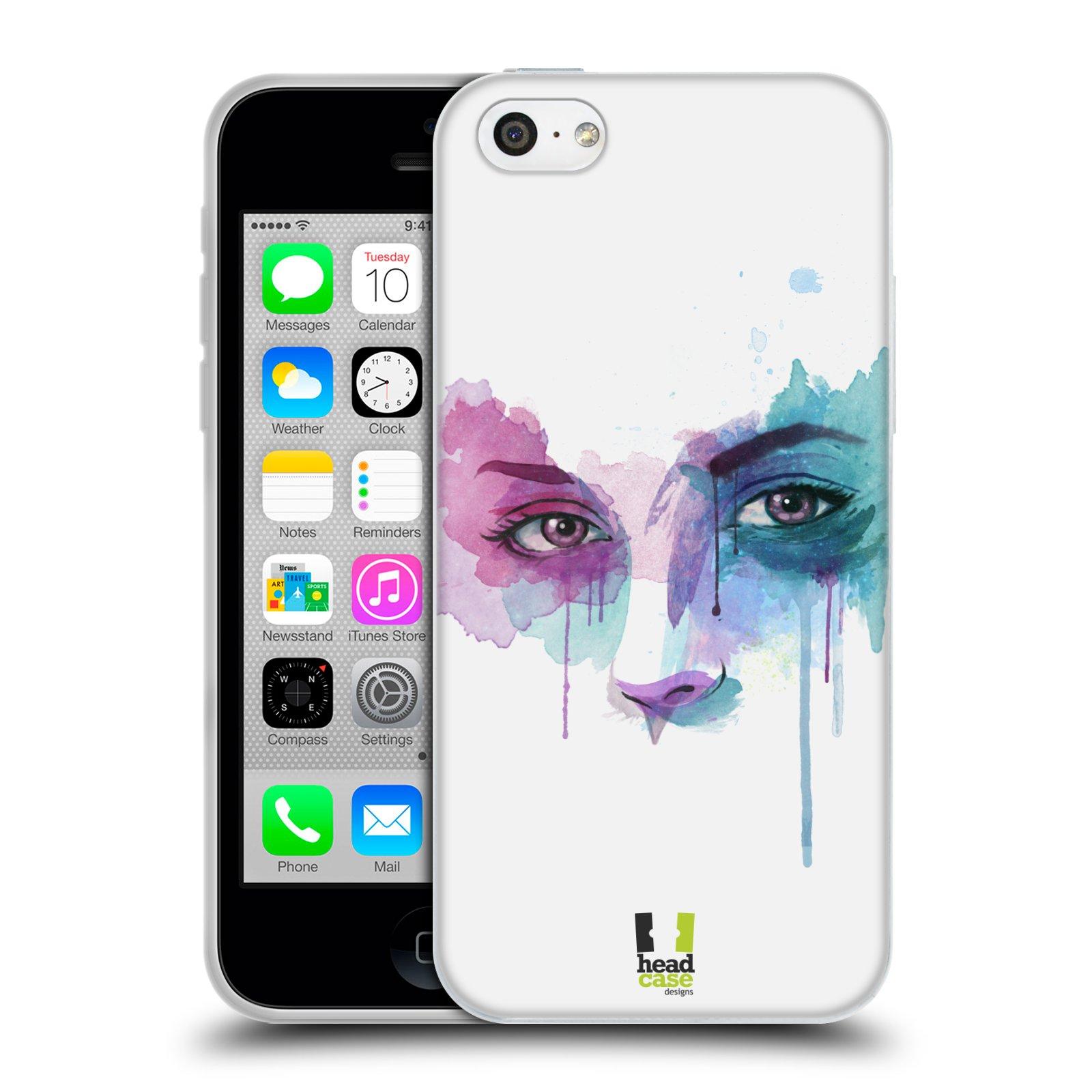 HEAD CASE silikonový obal na mobil Apple Iphone 5C vzor Tvaře vodní barvy  NOVÝ POHLED 5bb44928a19