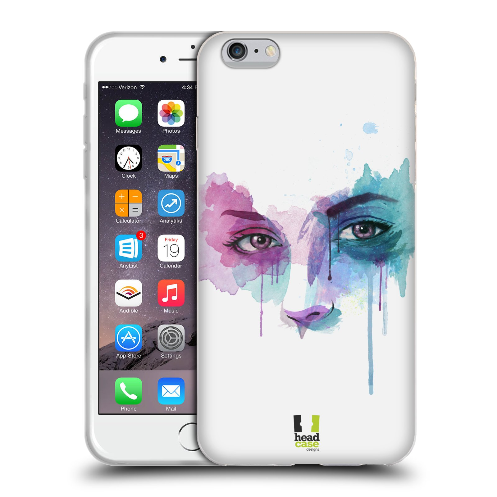 HEAD CASE silikonový obal na mobil Apple Iphone 6 PLUS/ 6S PLUS vzor Tvaře vodní barvy NOVÝ POHLED