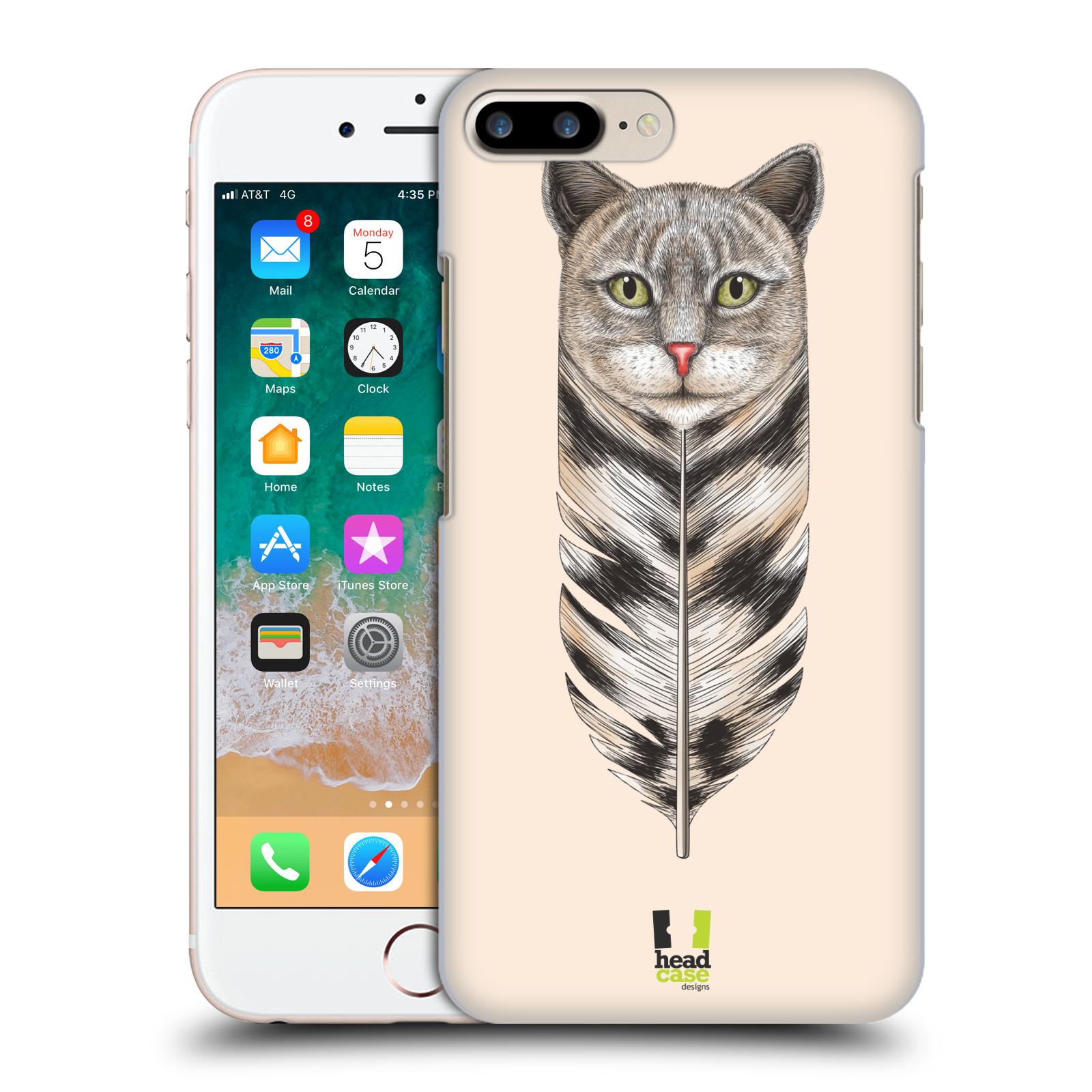 HEAD CASE plastový obal na mobil Apple Iphone 7 PLUS vzor zvířecí pírka kočka