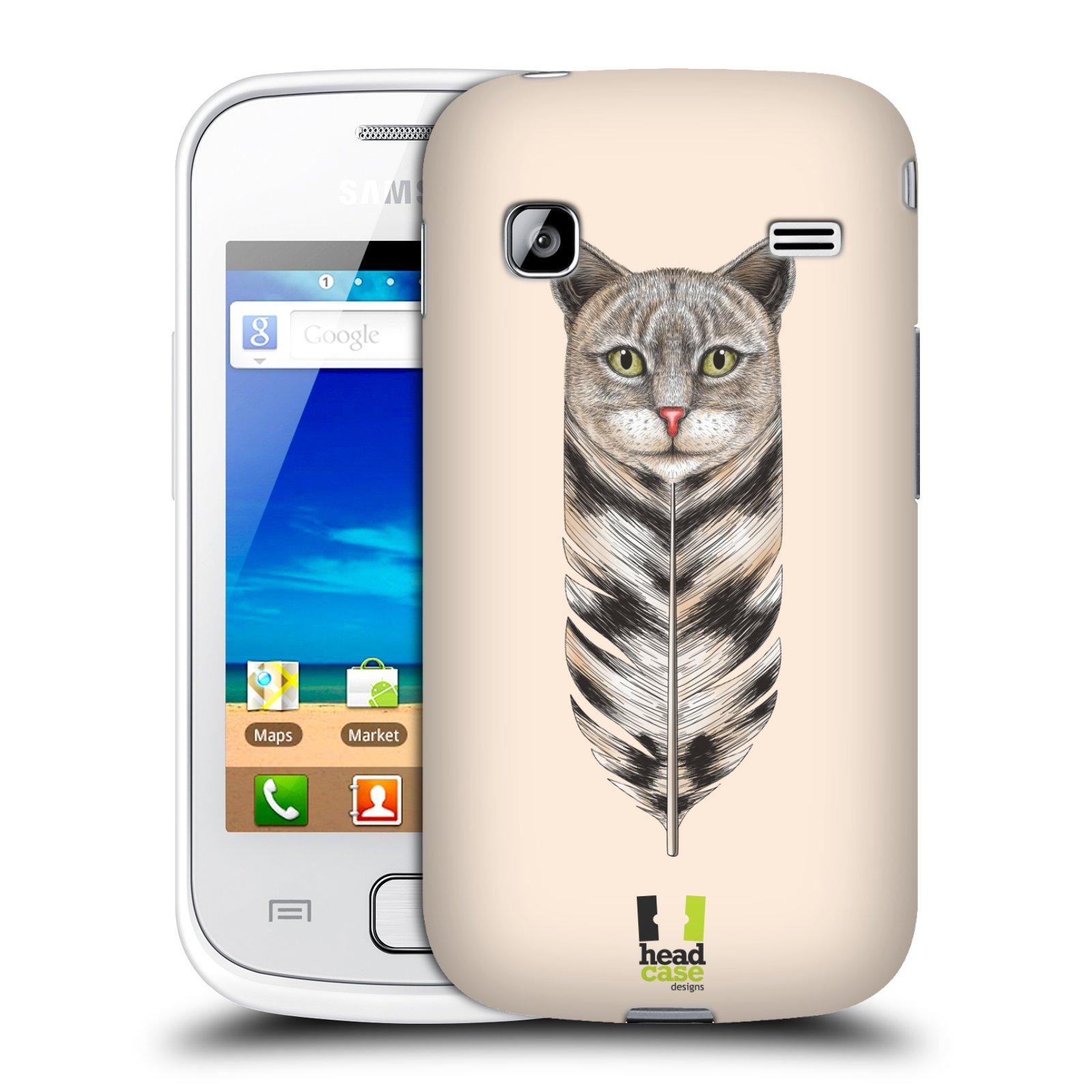 HEAD CASE plastový obal na mobil SAMSUNG GALAXY GIO (S5660) vzor zvířecí pírka kočka