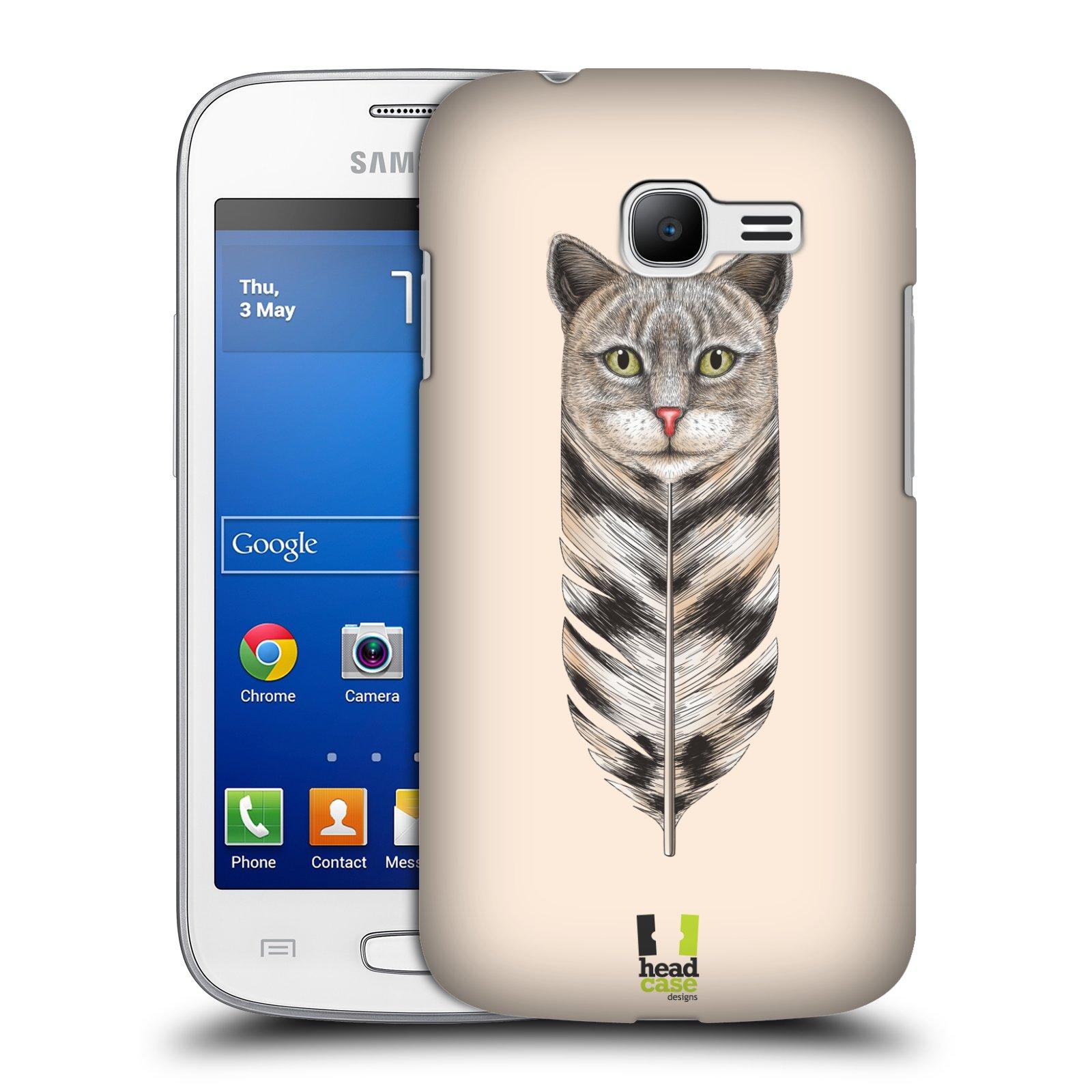 HEAD CASE plastový obal na mobil SAMSUNG GALAXY Star Pro S7260/S7262 DUOS vzor zvířecí pírka kočka