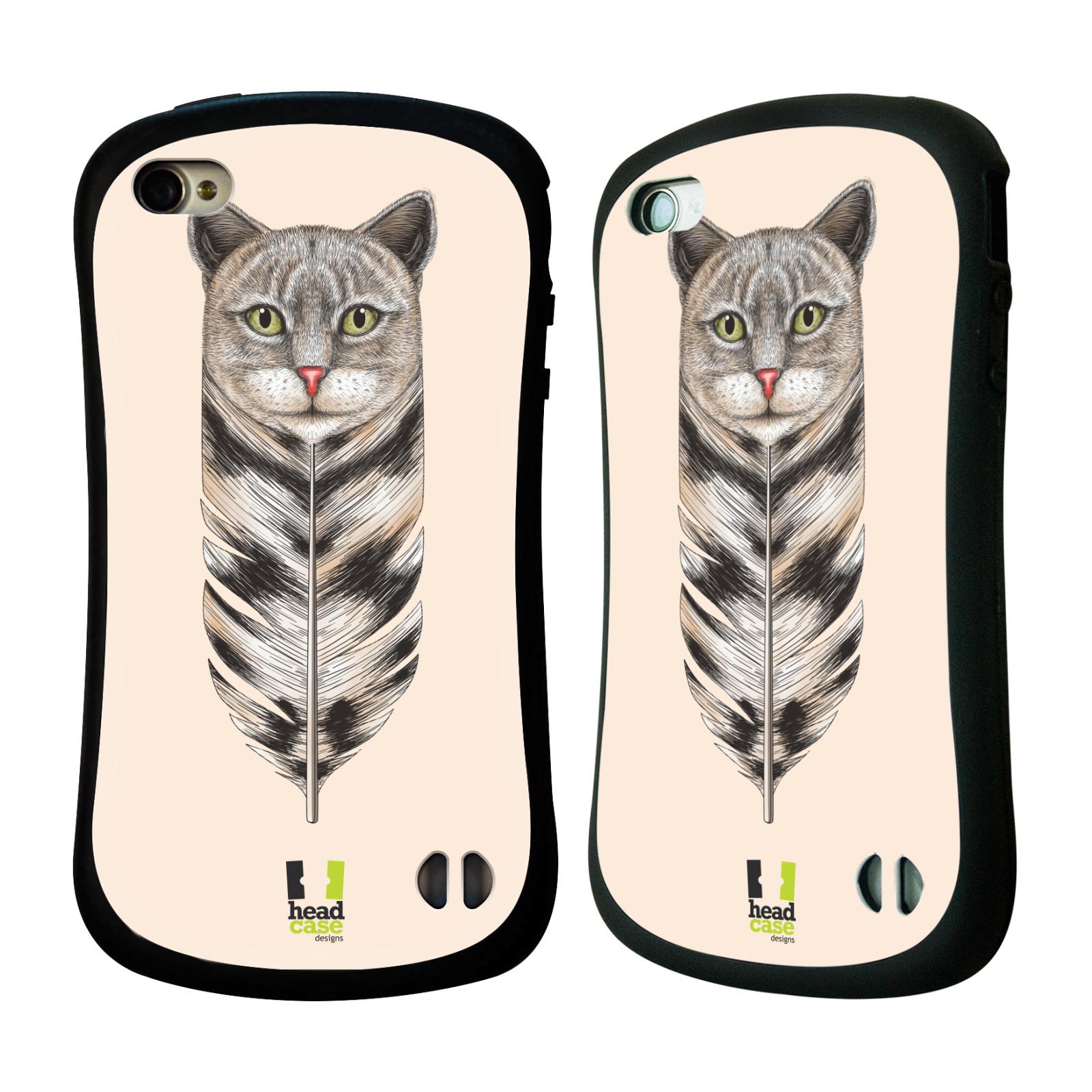 HEAD CASE silikon/plast odolný obal na mobil Apple Iphone 4/4S vzor zvířecí pírka kočka