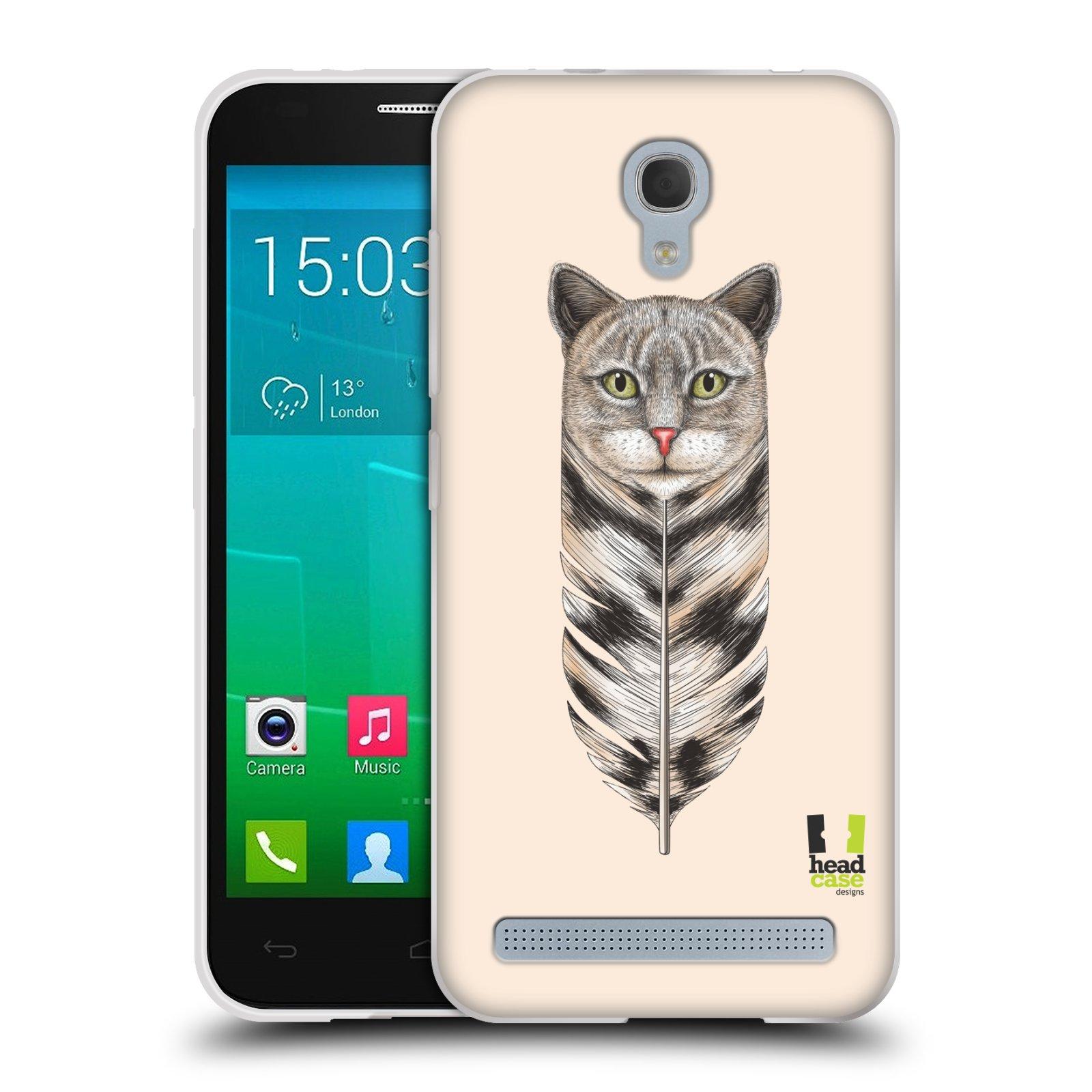 HEAD CASE silikonový obal na mobil Alcatel Idol 2 MINI S 6036Y vzor zvířecí pírka kočka