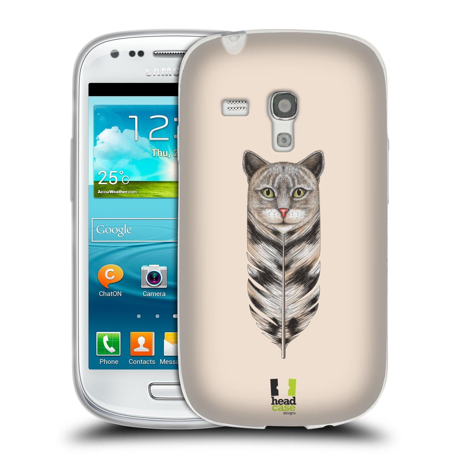 HEAD CASE silikonový obal na mobil Samsung Galaxy S3 MINI i8190 vzor zvířecí pírka kočka