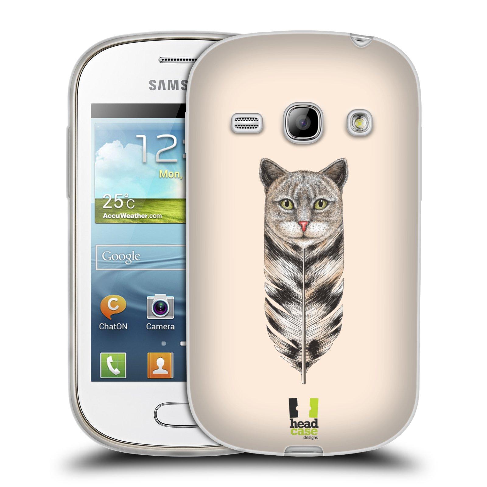 HEAD CASE silikonový obal na mobil Samsung Galaxy FAME vzor zvířecí pírka kočka
