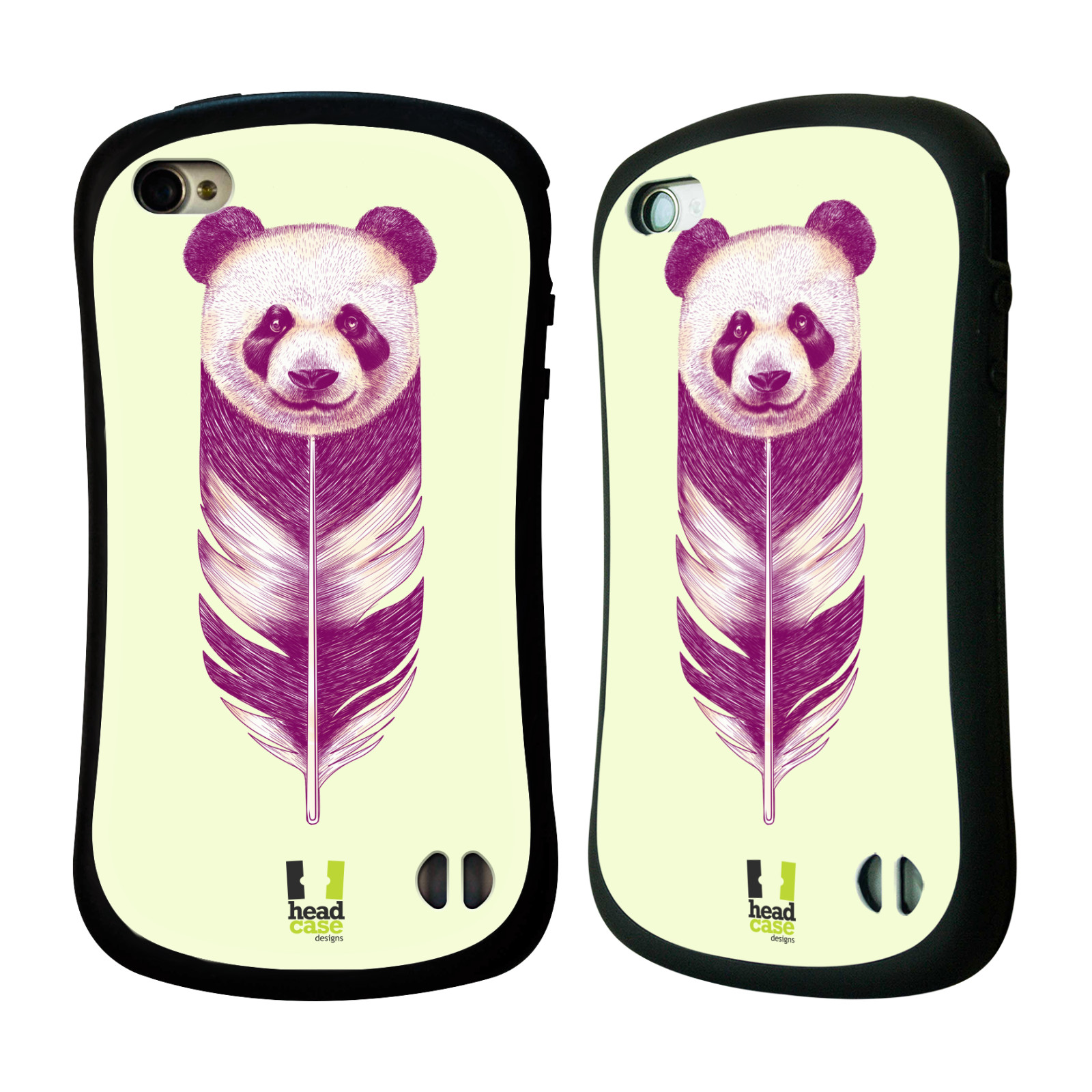 HEAD CASE silikon/plast odolný obal na mobil Apple Iphone 4/4S vzor zvířecí pírka panda